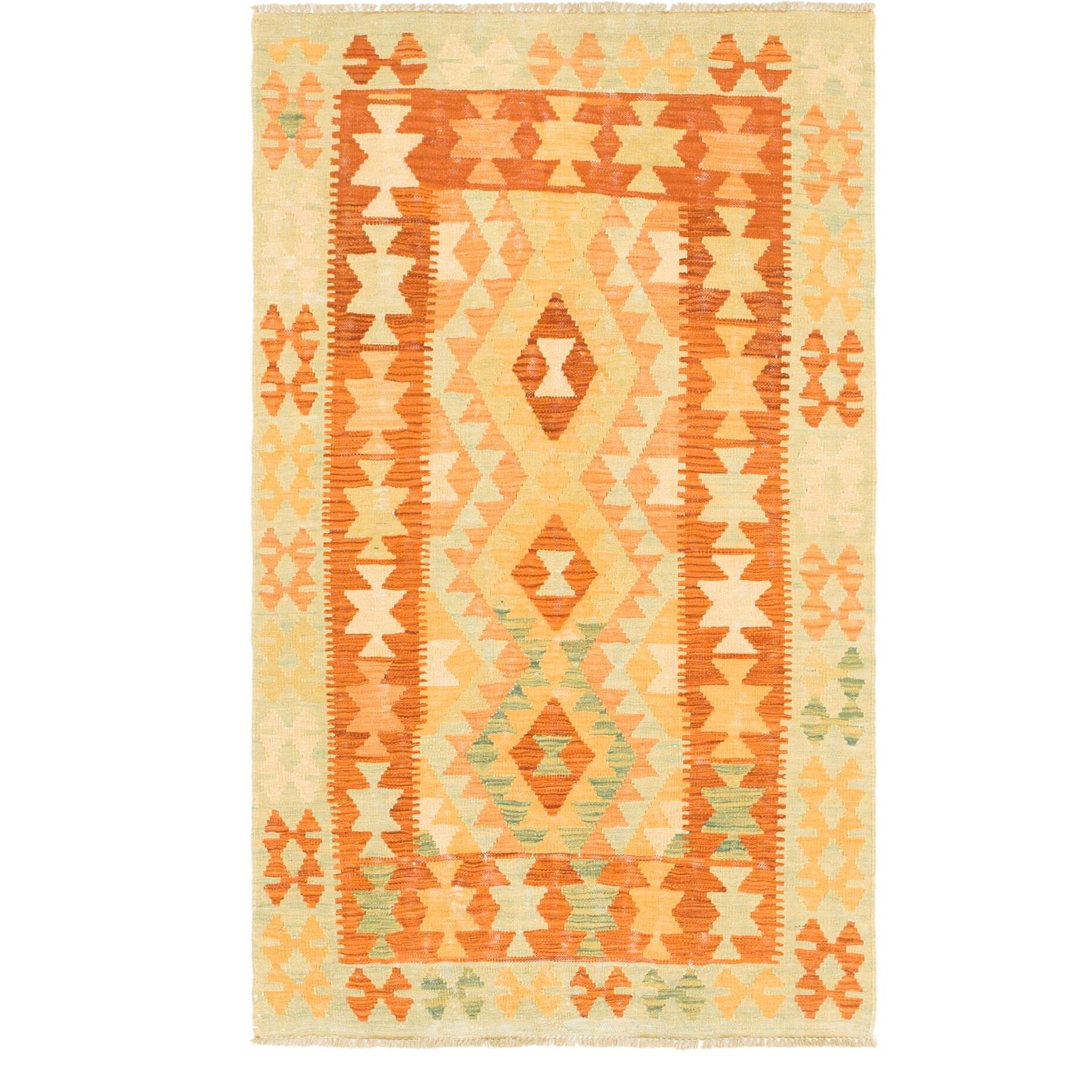 One-of-a-Kind Elland Hand-Knotted Wool Rust Red/Orange/Green Area Rug