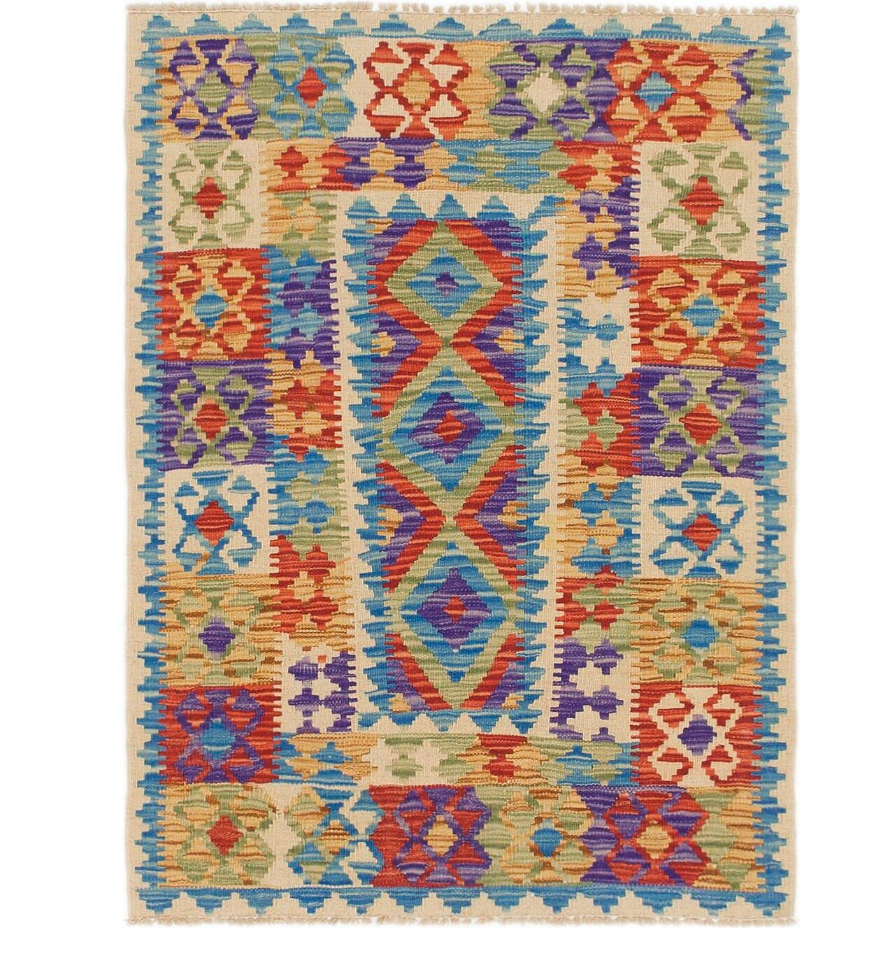 One-of-a-Kind Alverta Kilim Maymana Hand-Knotted Wool 3' x 4' Violet/Blue/Red Area Rug