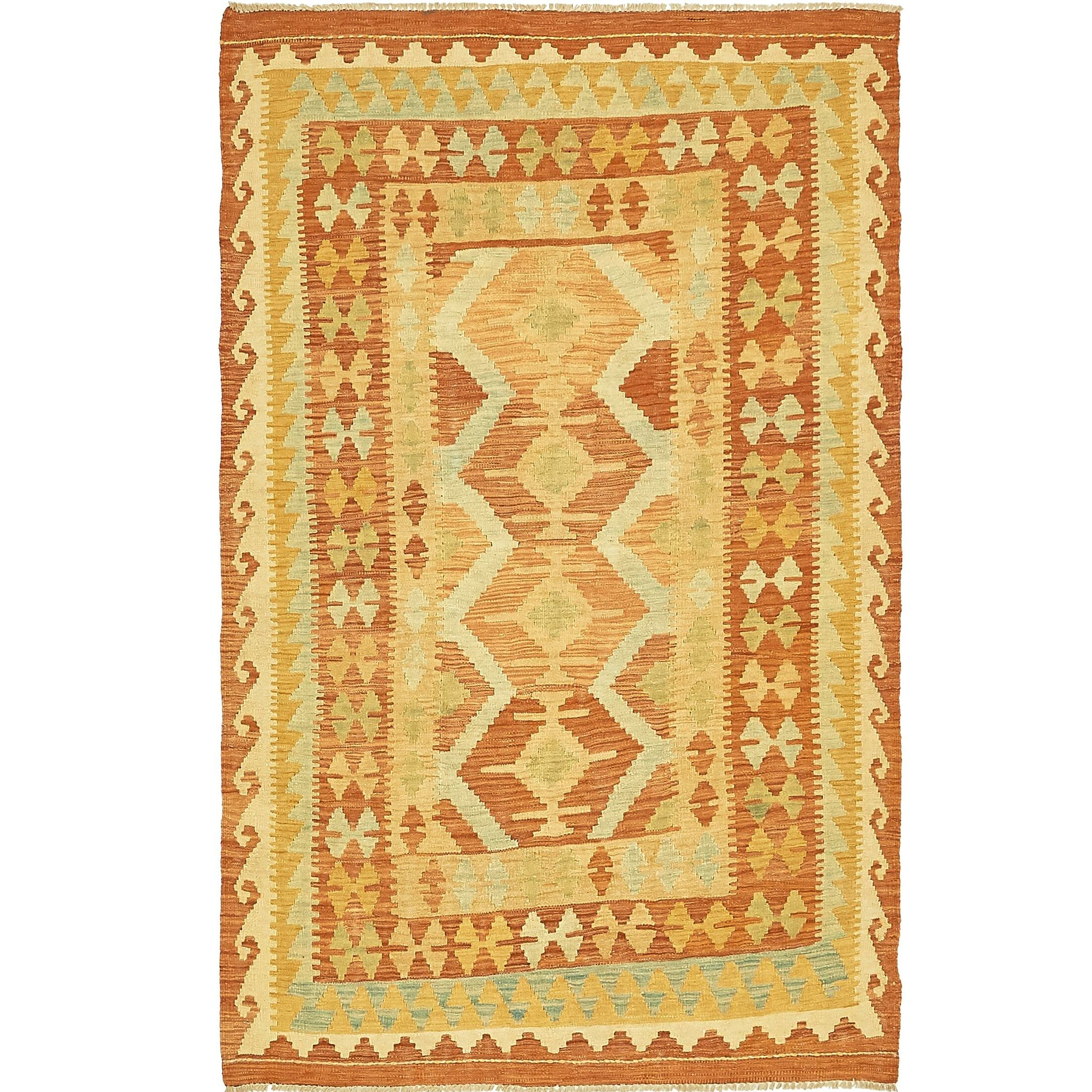 One-of-a-Kind Elland Hand-Knotted Wool Green/Rust Red Area Rug