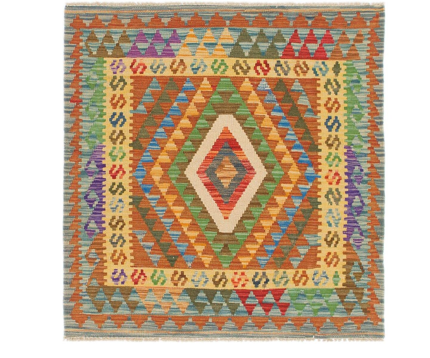 One-of-a-Kind Arvilla Kilim Maymana Hand-Knotted Wool 3'3
