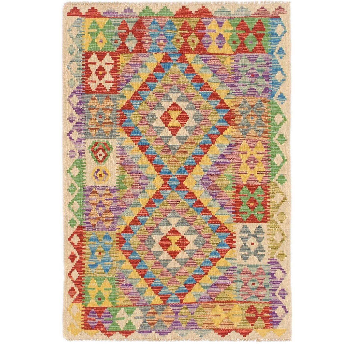 One-of-a-Kind Berton Kilim Maymana Hand-Knotted Wool 2'9