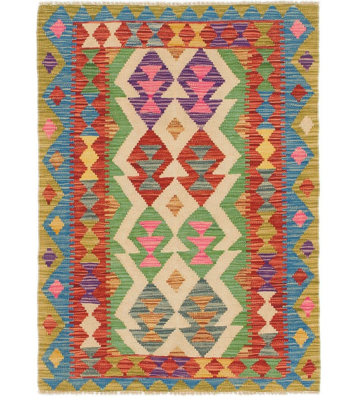 One-of-a-Kind Brittnie Kilim Maymana Hand-Knotted Wool 2'10