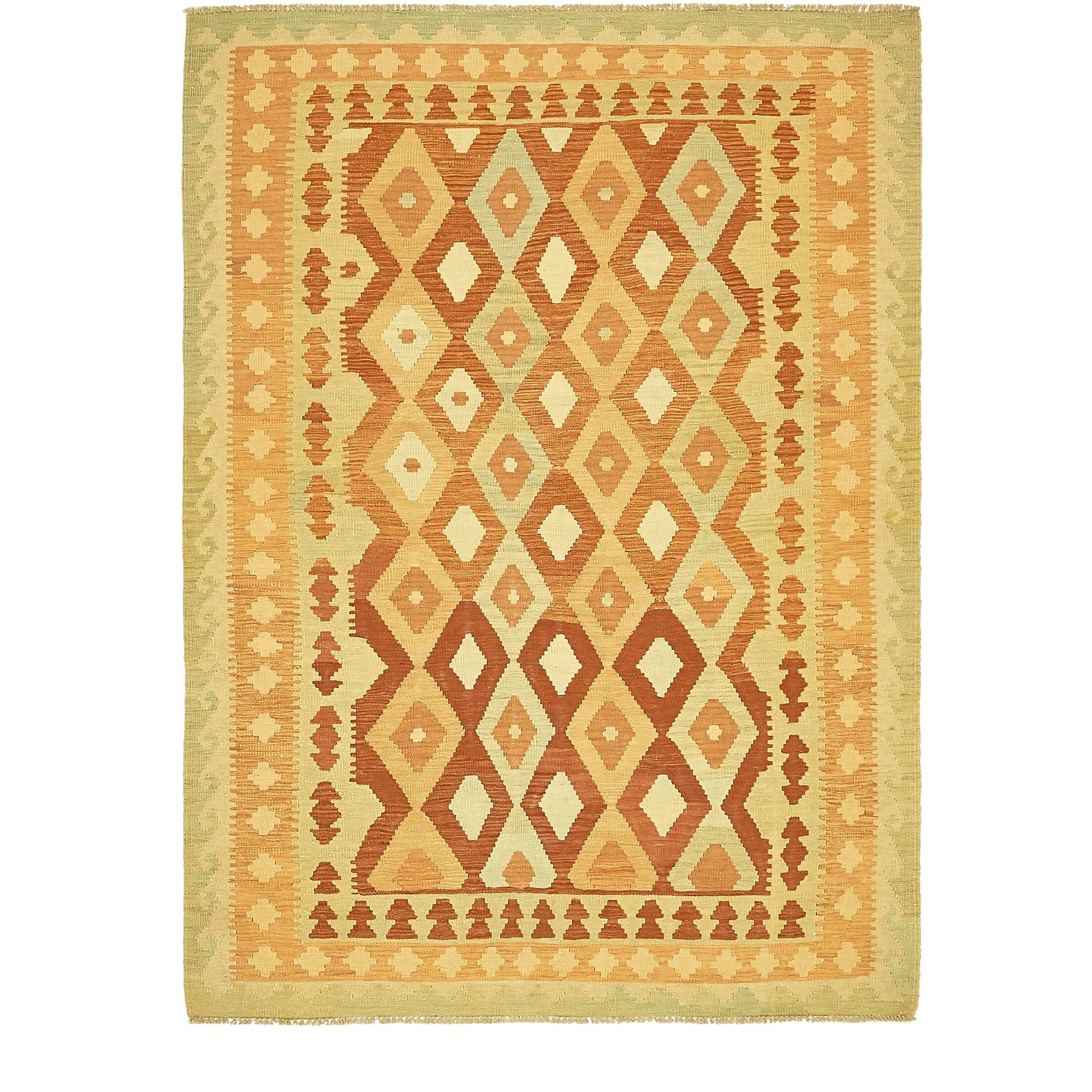 One-of-a-Kind Elland Hand-Knotted Wool Red/Gold Area Rug