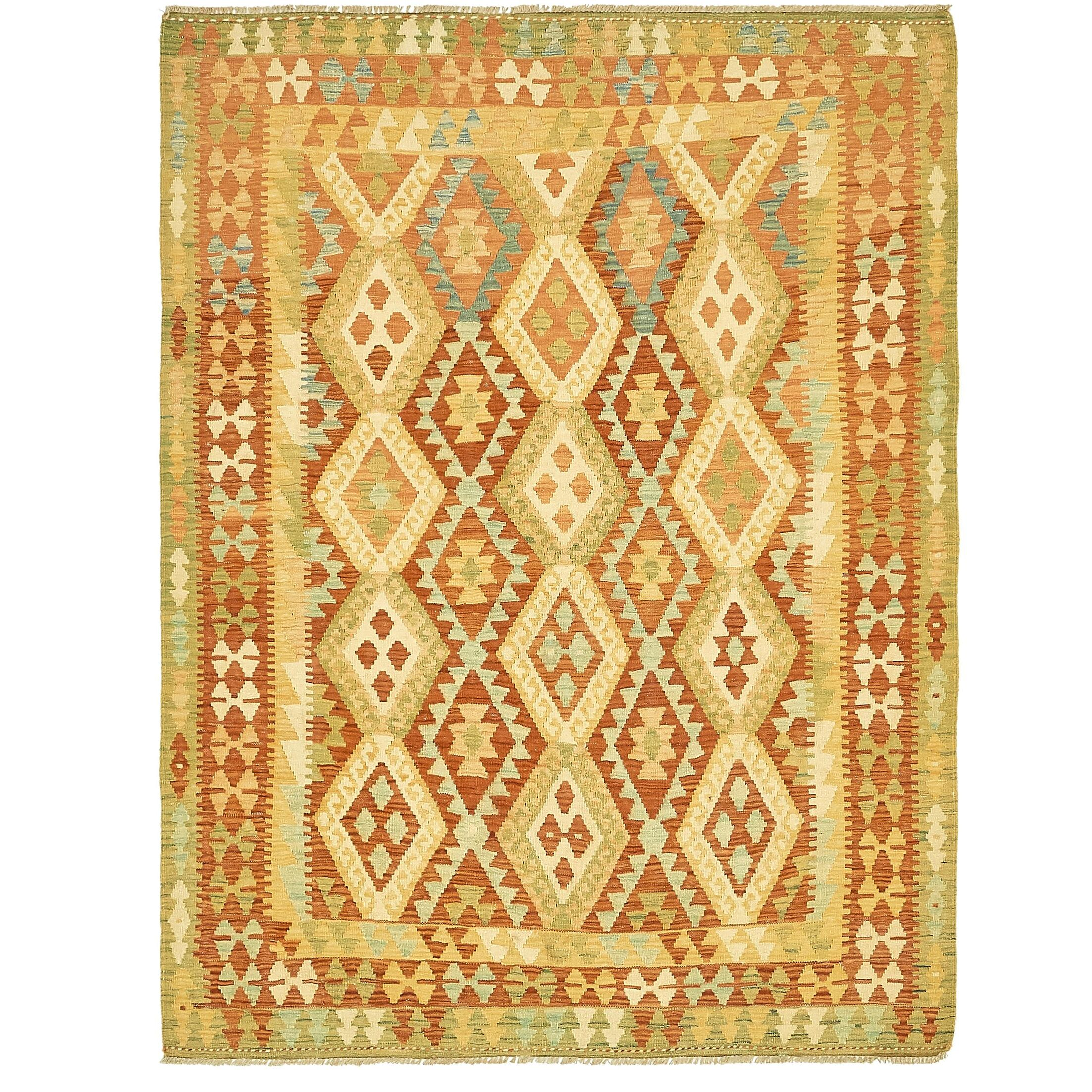 One-of-a-Kind Elland Hand-Knotted Wool Red/Green/Yellow Area Rug