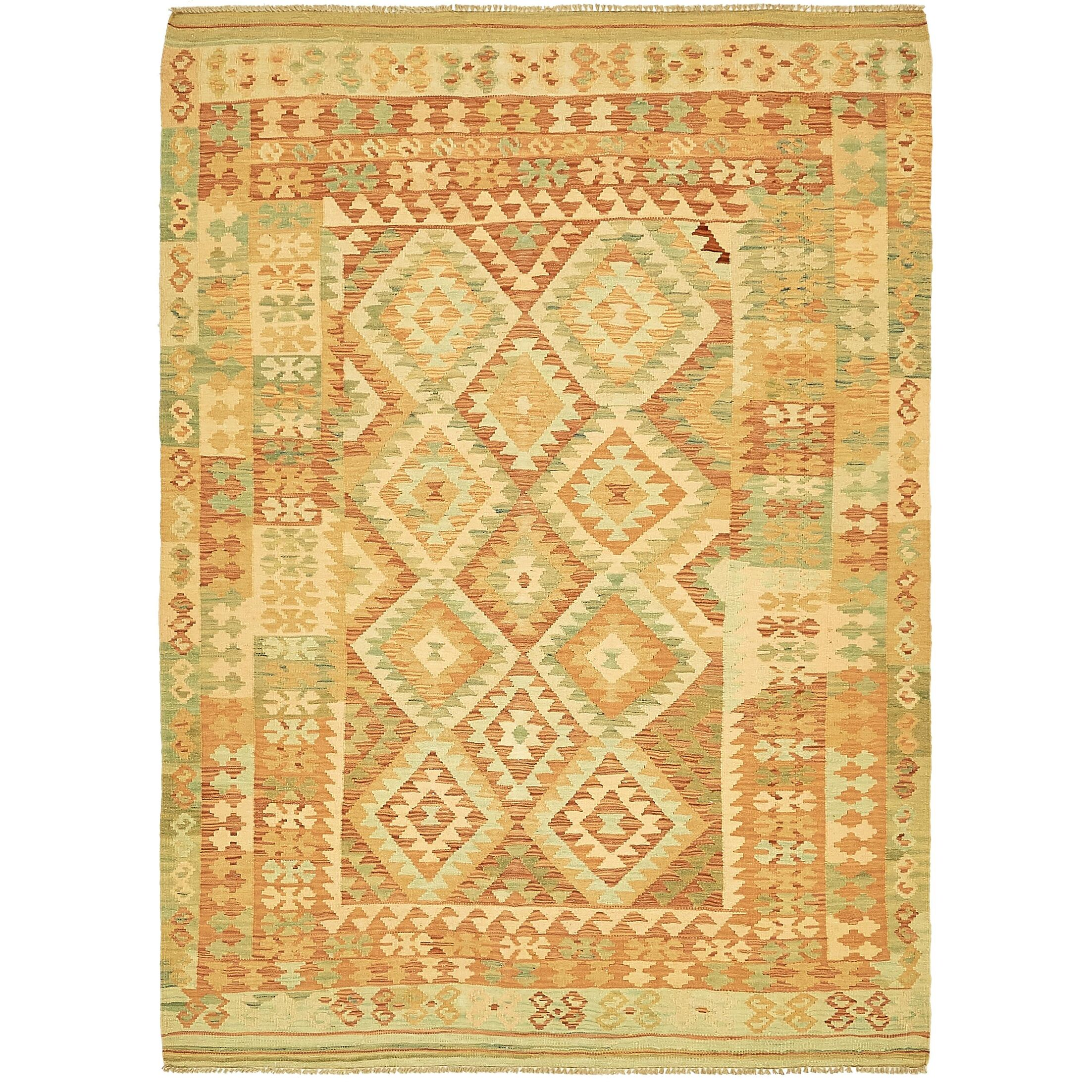 One-of-a-Kind Elland Hand-Knotted Wool Cream/Green Area Rug