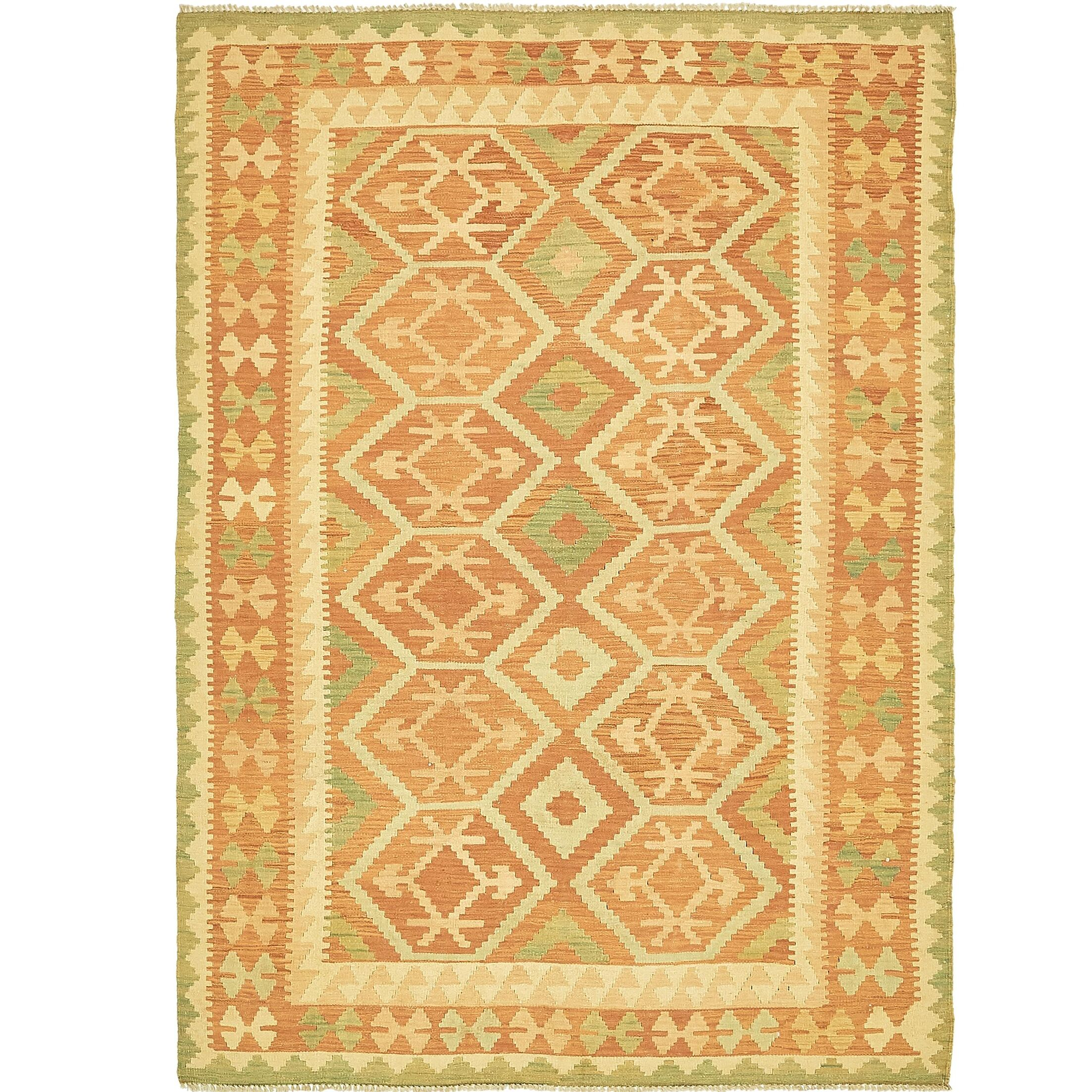 One-of-a-Kind Elland Hand-Knotted Wool Salmon/Yellow Area Rug