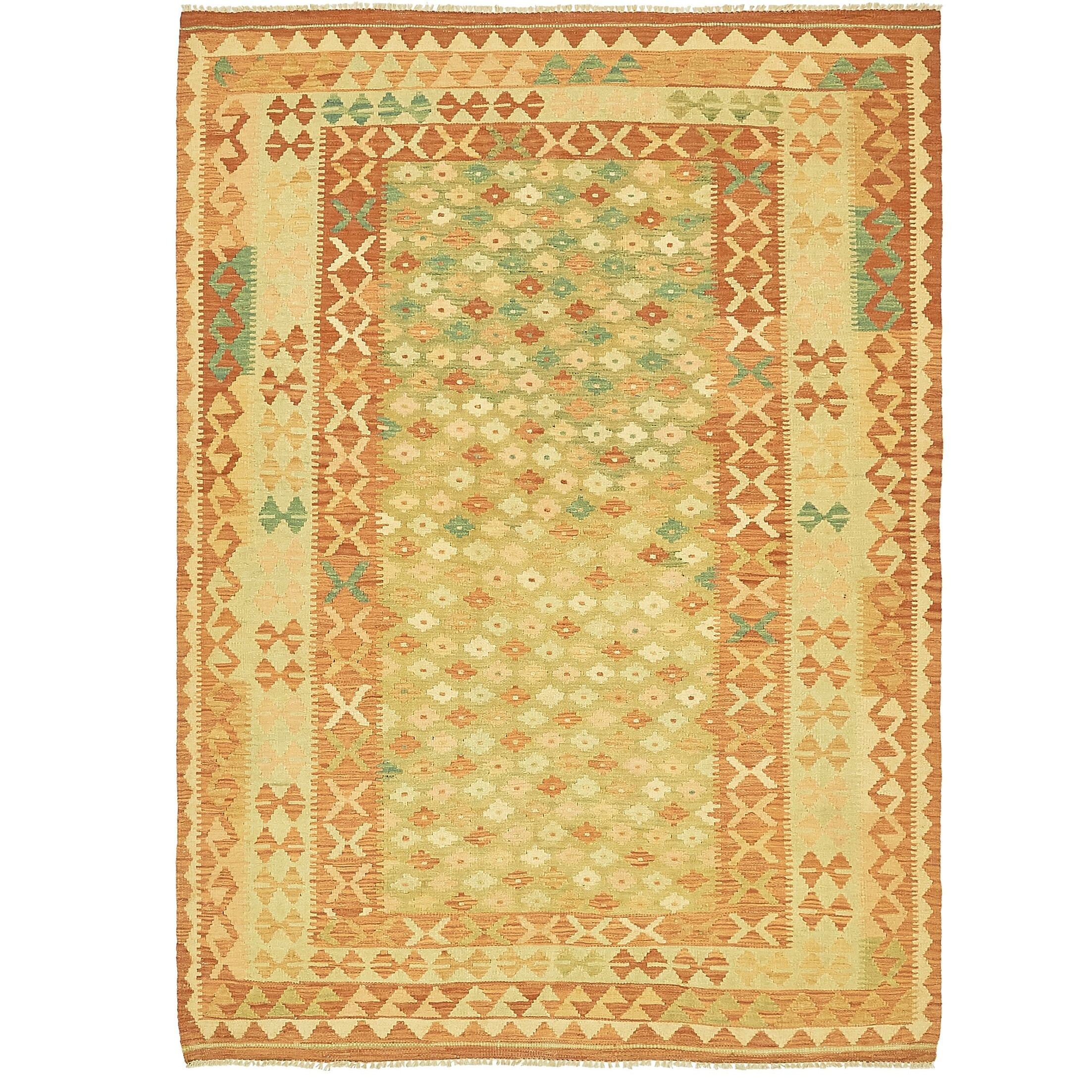 One-of-a-Kind Elland Hand-Knotted Wool Green/Yellow Area Rug