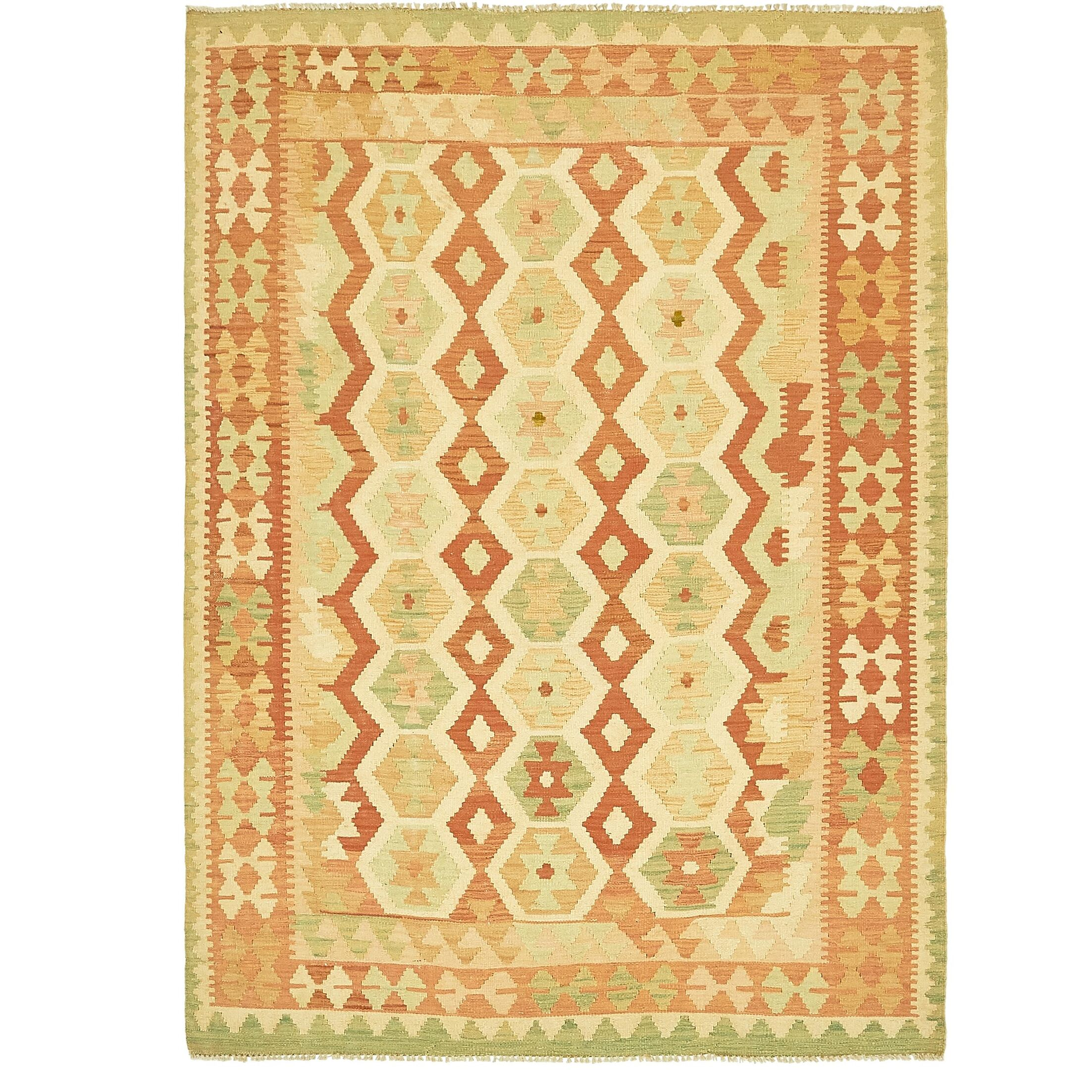 One-of-a-Kind Elland Hand-Knotted Wool Red/Yellow/Green Area Rug