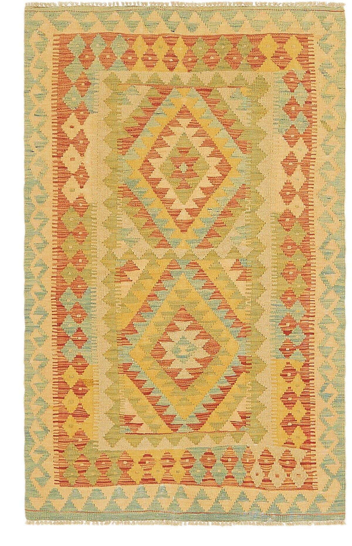 One-of-a-Kind Elland Hand-Knotted Wool Light Blue/Red Area Rug