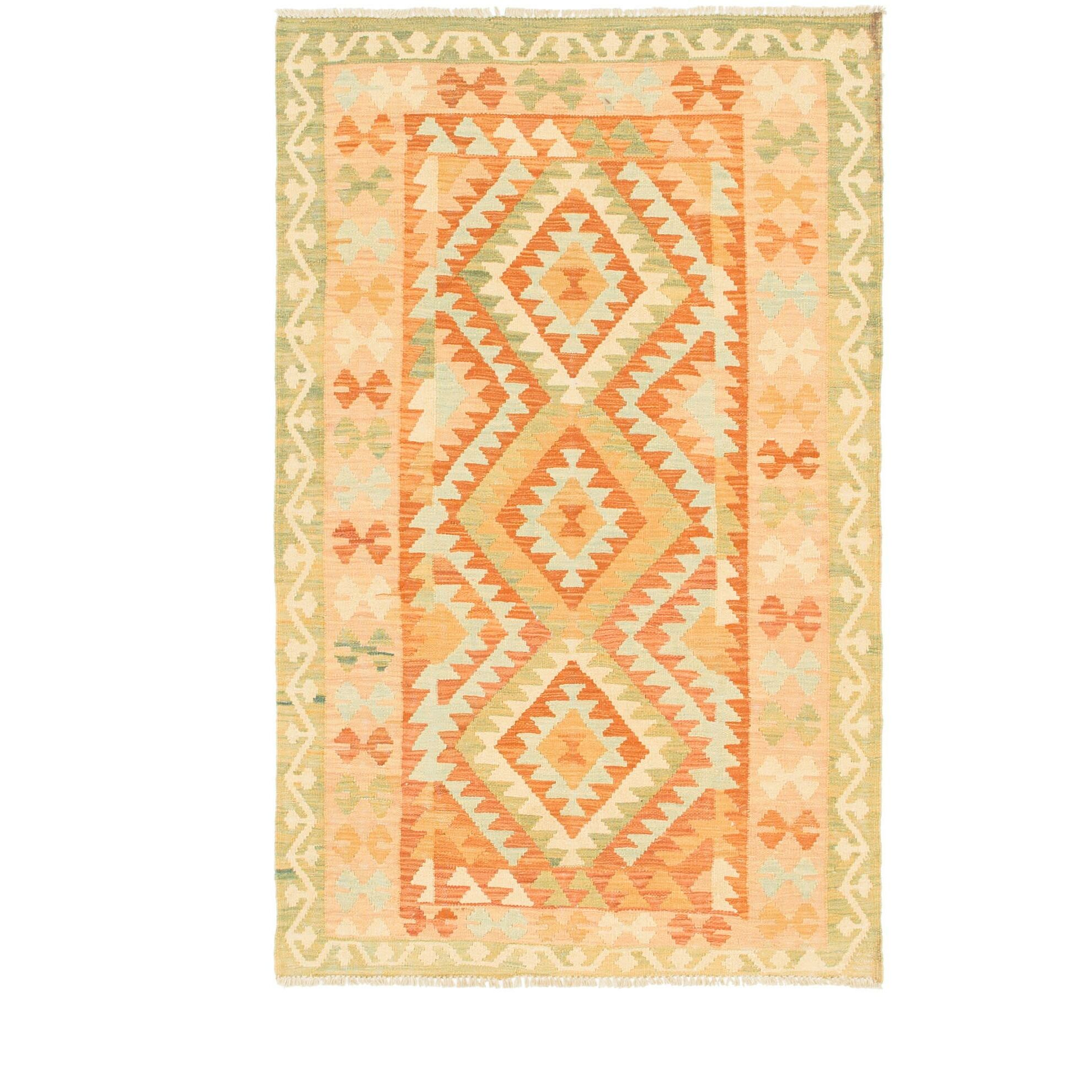 One-of-a-Kind Elland Hand-Knotted Wool Orange/Green Area Rug