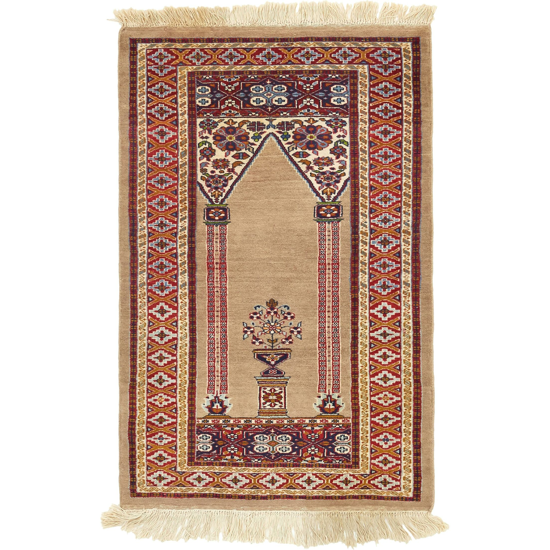 One-of-a-Kind Lahour Hand-Knotted Wool Beige Area Rug