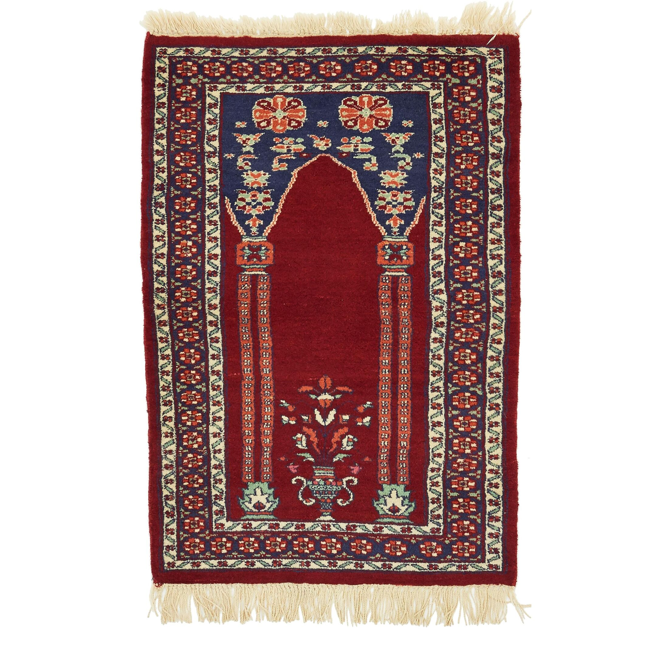 One-of-a-Kind Lahour Hand-Knotted Wool Red Area Rug