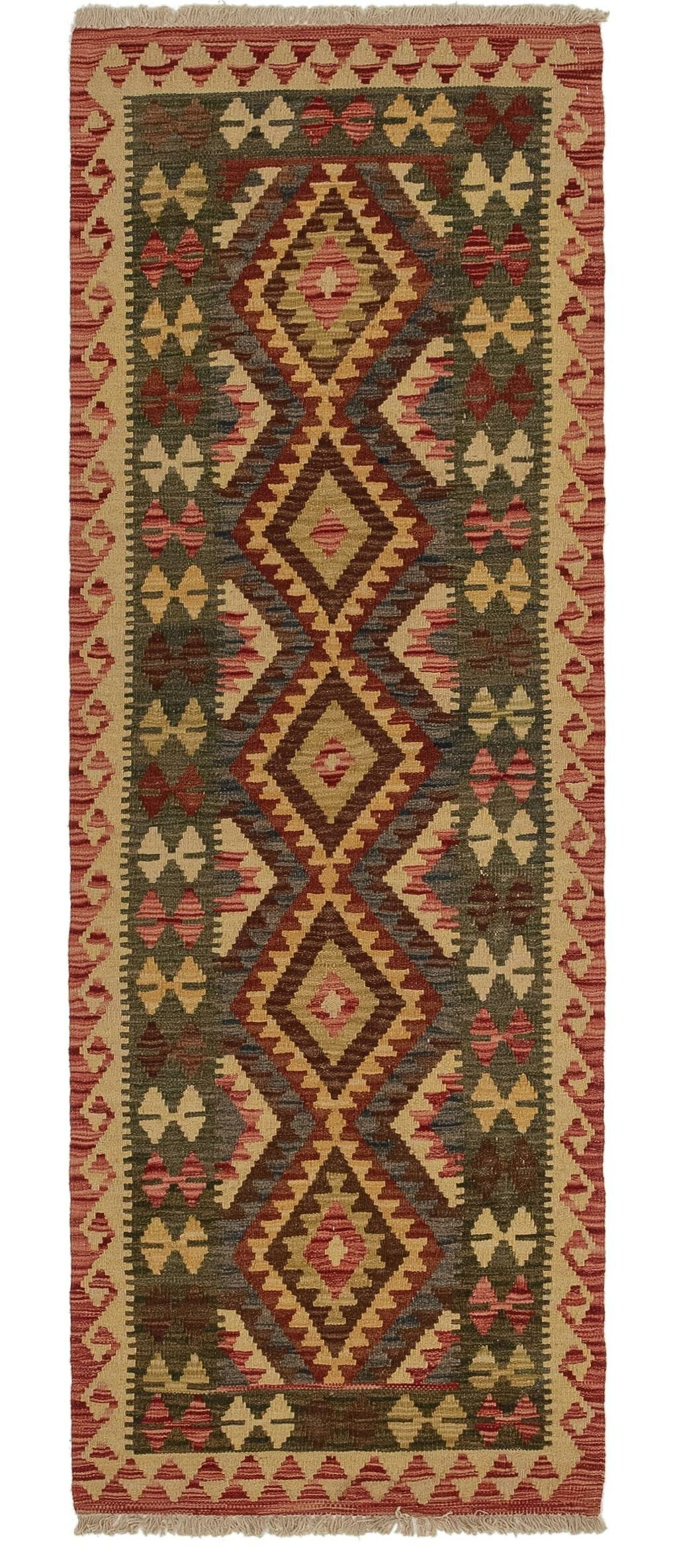 One-of-a-Kind Elick Kilim Maymana Hand-Knotted Wool 2'4