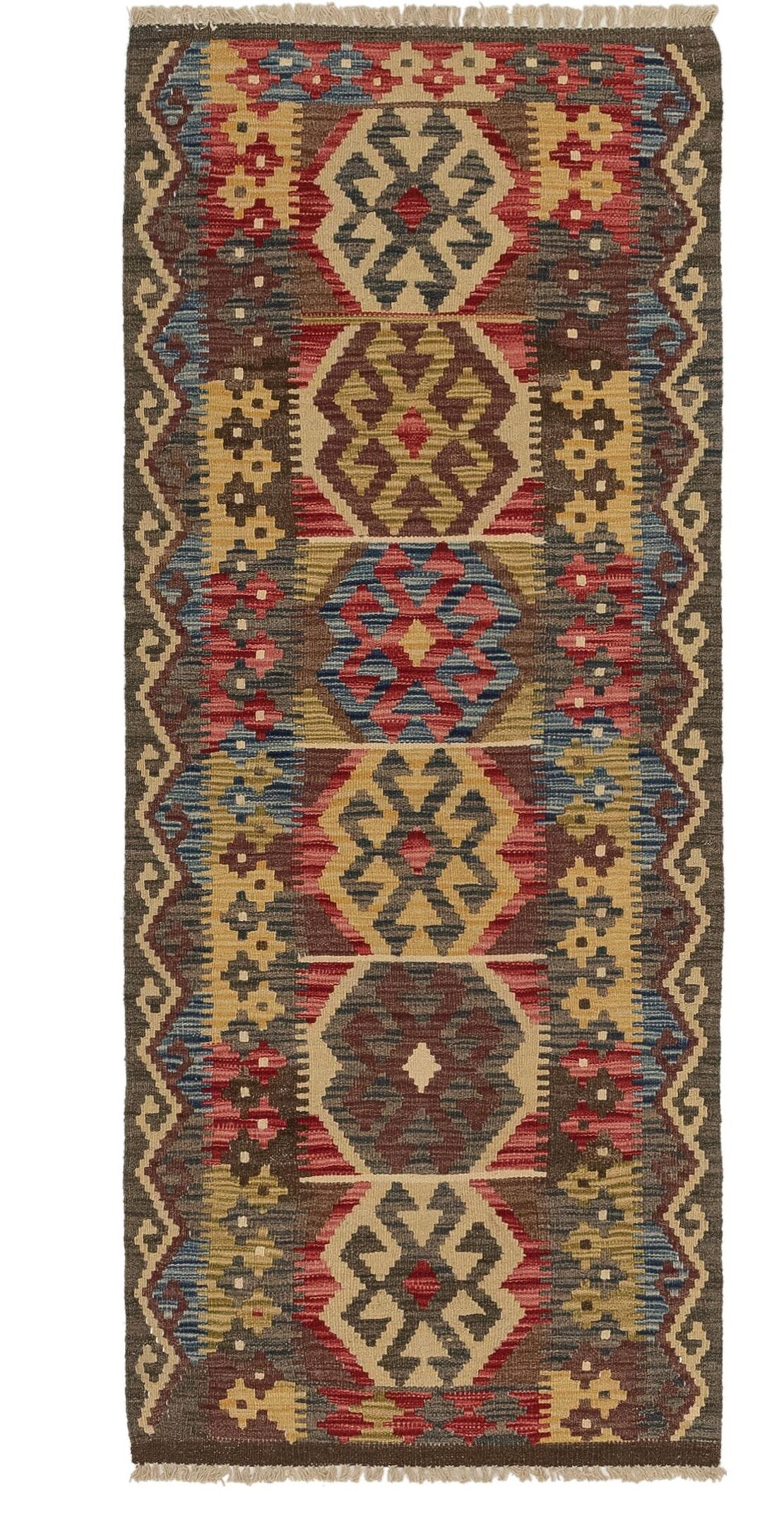 One-of-a-Kind Ethelyn Kilim Maymana Hand-Knotted Wool 2'5