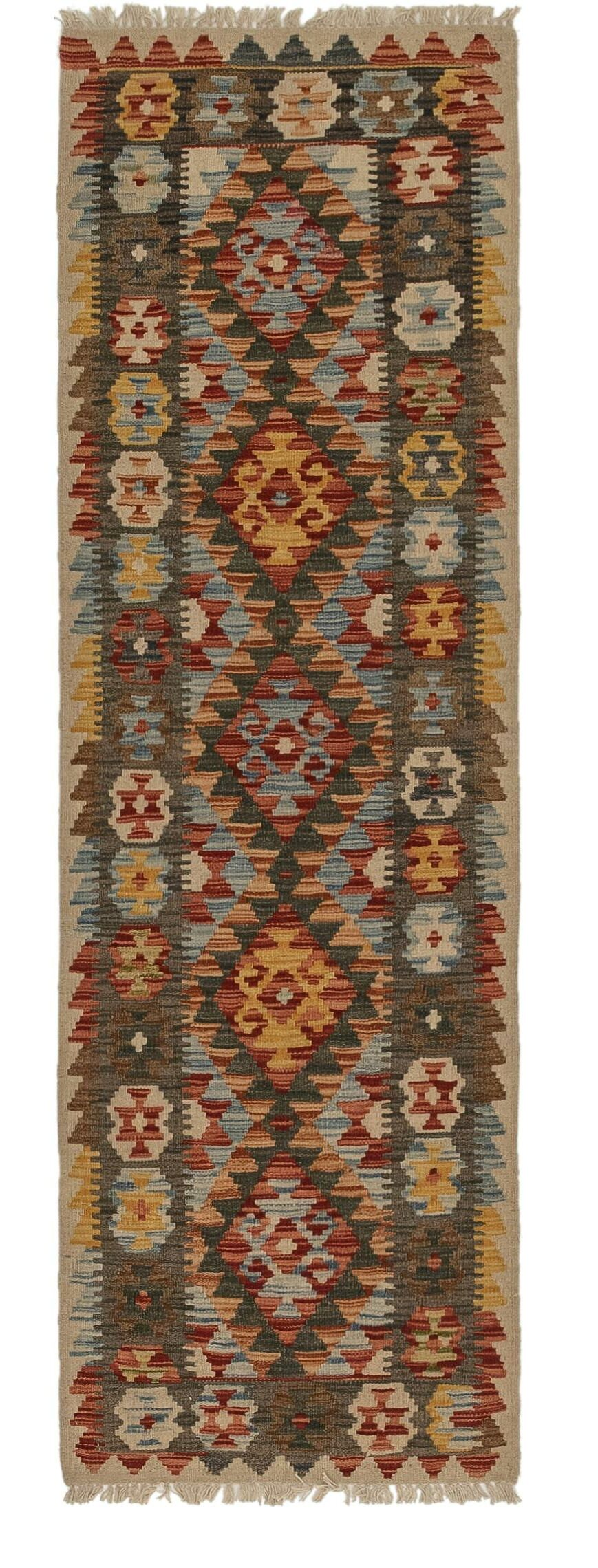 One-of-a-Kind Fidelia Kilim Maymana Hand-Knotted Wool 2' x 6'5