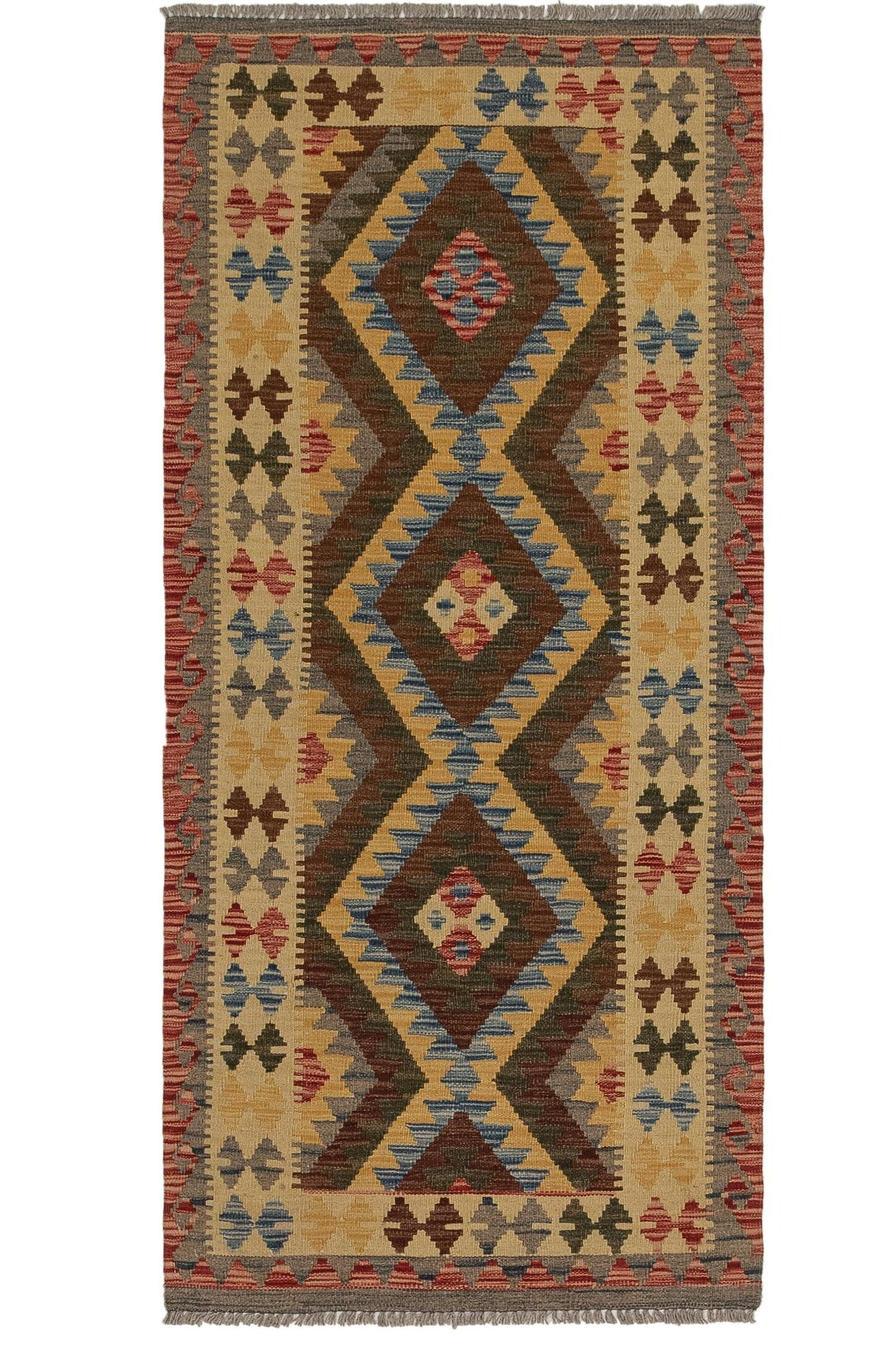 One-of-a-Kind General Kilim Maymana Hand-Knotted Wool 2'9