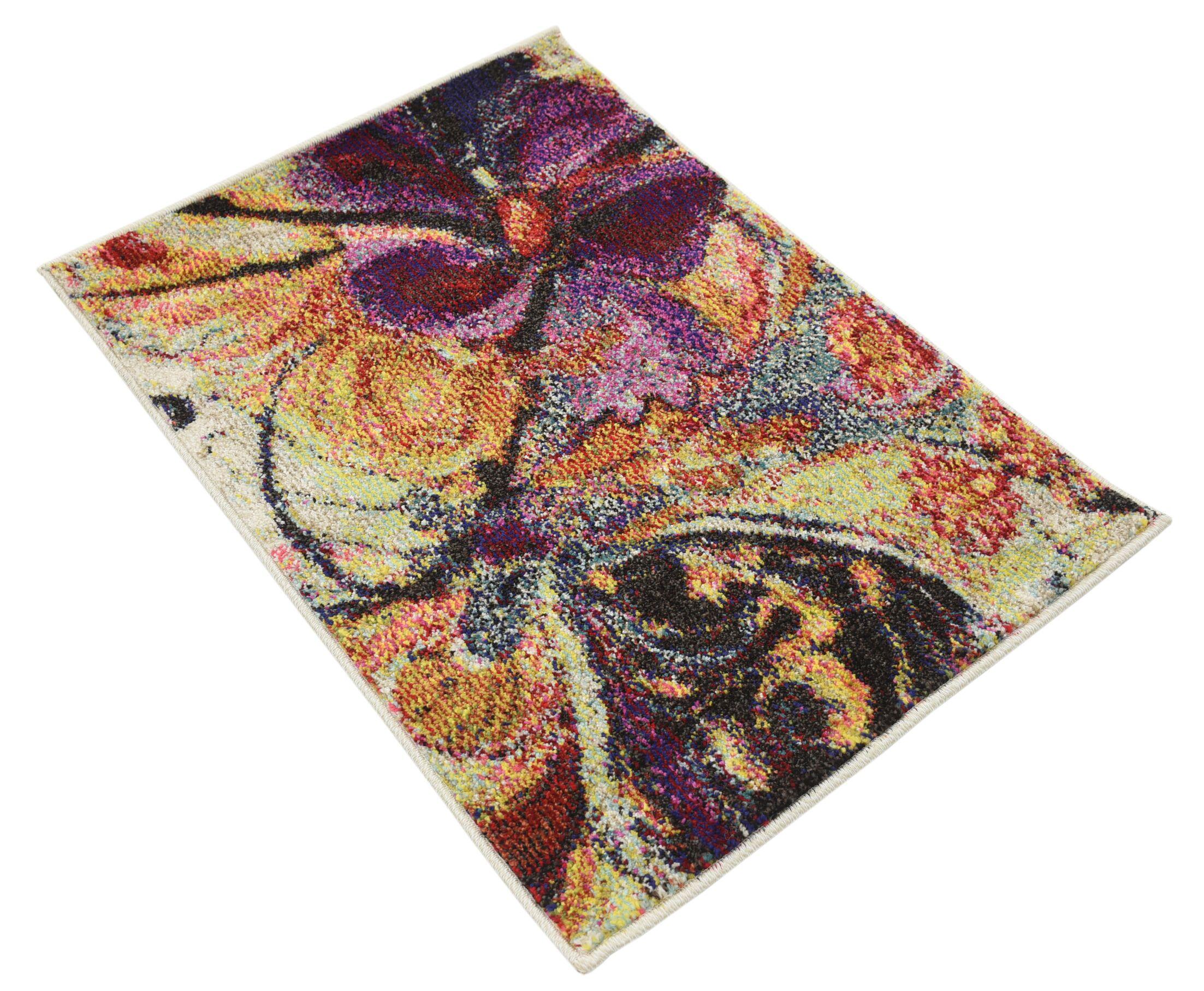 Sofia Beige/Purple Area Rug Rug Size: Rectangle 6' x 9'