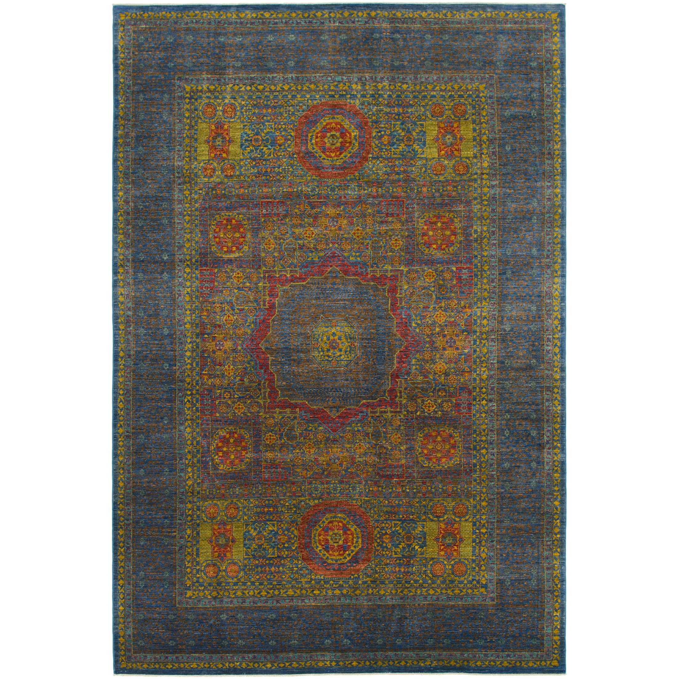 One-of-a-Kind Lulie Hand-Knotted Wool Blue/Yellow Area Rug