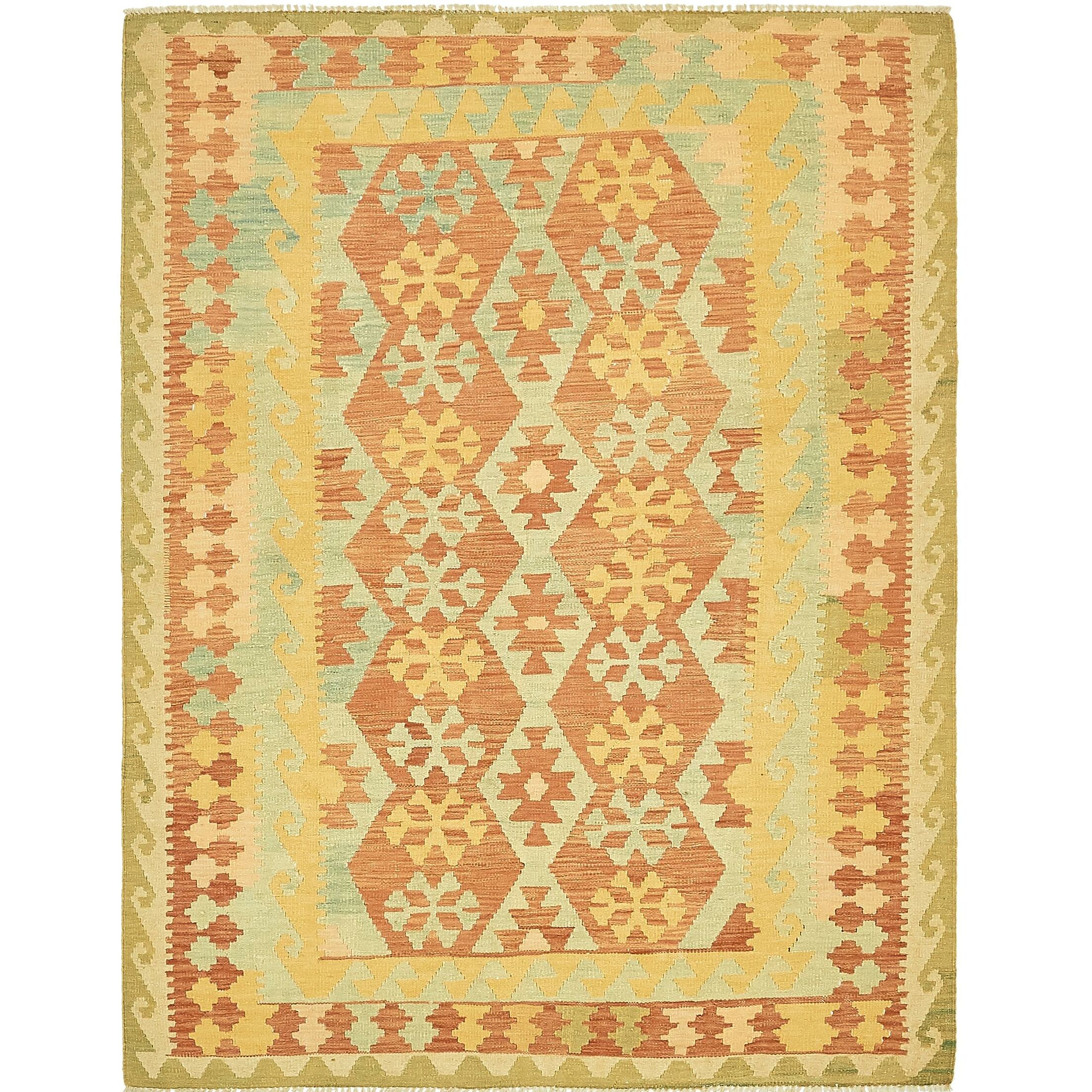 One-of-a-Kind Elland Hand-Knotted Wool Salmon/Green Area Rug