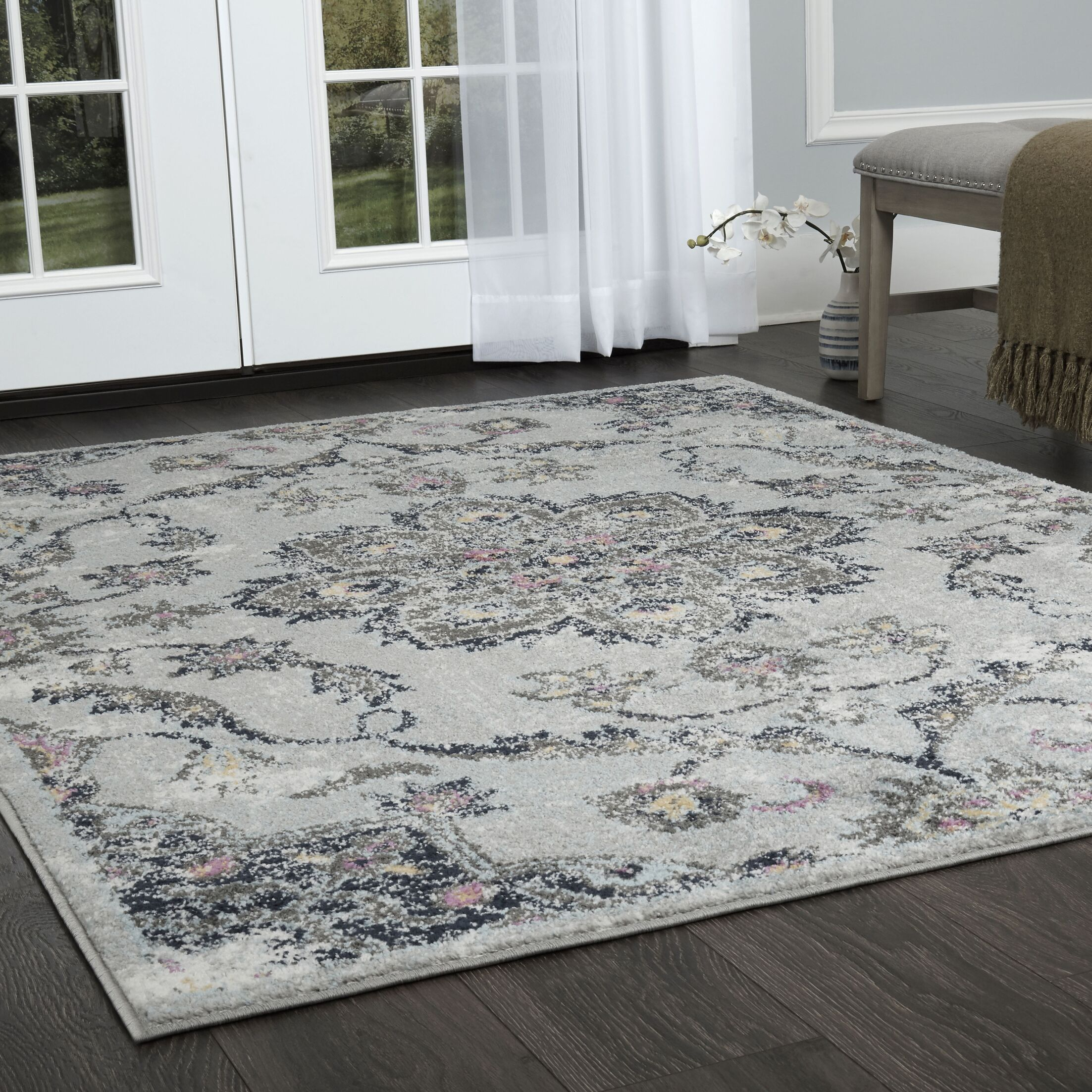 Tangela Distressed Gray Area Rug Rug Size: Rectangle 7'10
