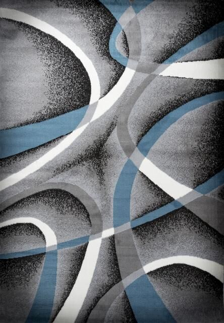 Fordbridge Hand-Knotted Sky Blue/Gray Area Rug Rug Size: Rectangle 8' x 10'
