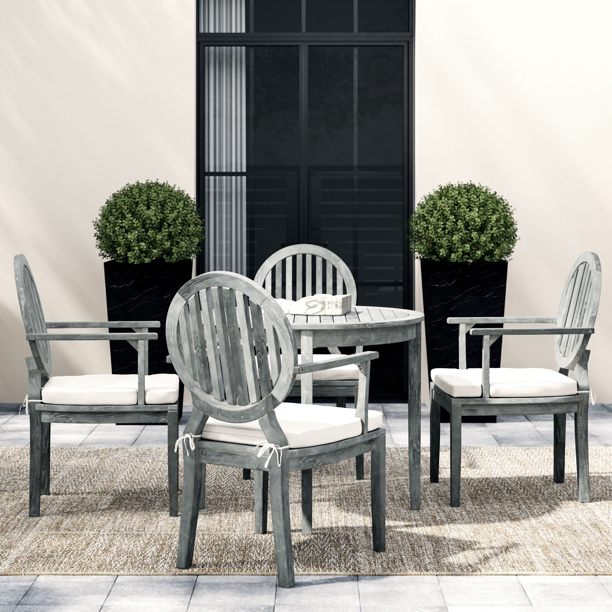 Chilhowee Chino 5 Piece Dining Set with Cushions Color: Ash Gray