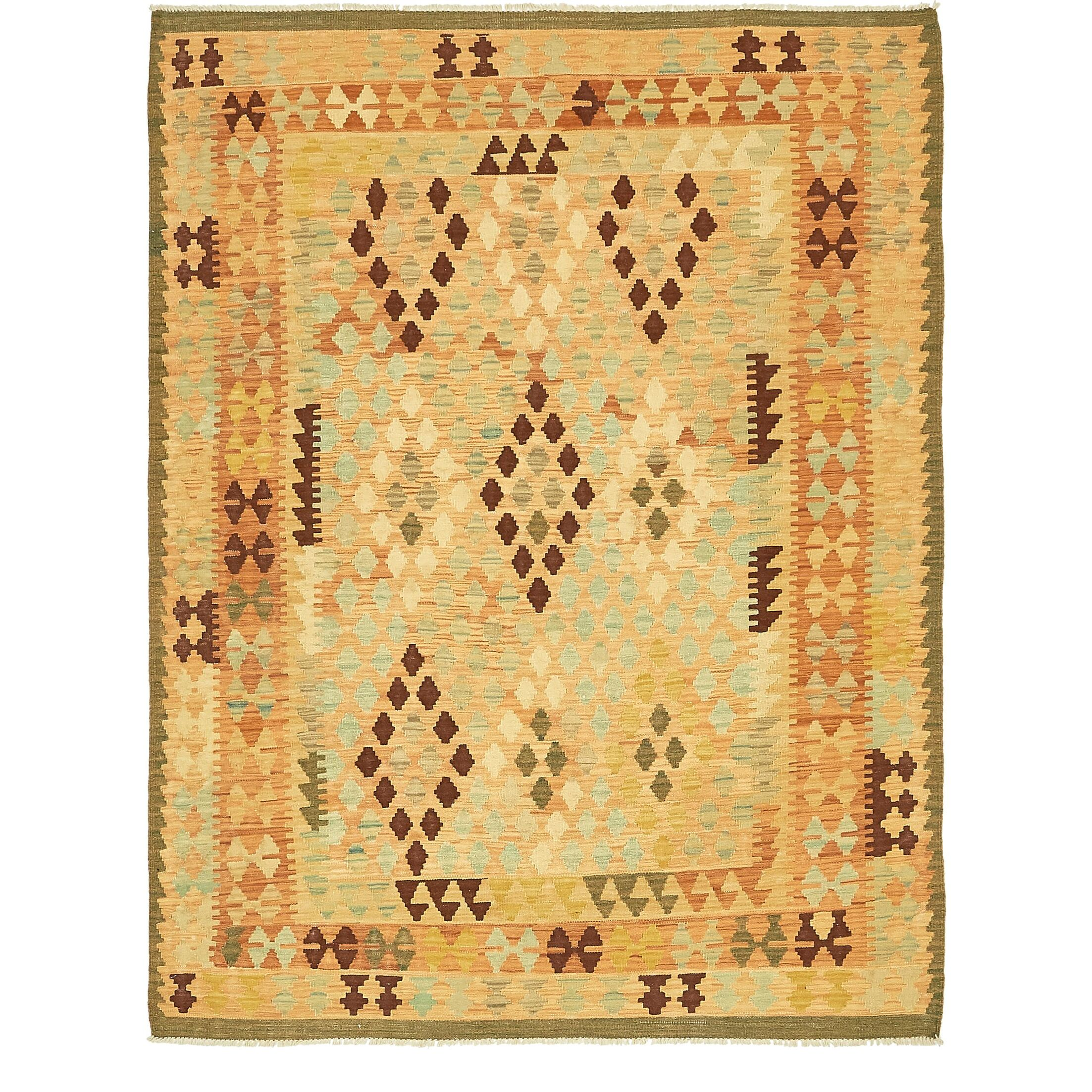 One-of-a-Kind Elland Hand-Knotted Wool Cream/Brown/Green Area Rug