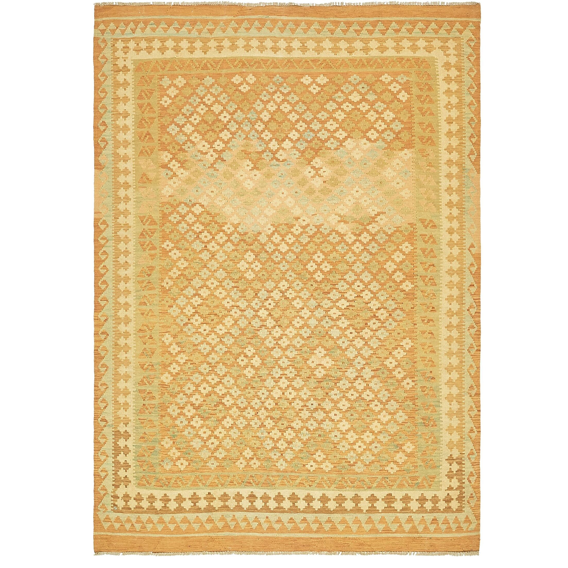One-of-a-Kind Elland Hand-Knotted Wool Orange/Yellow Area Rug