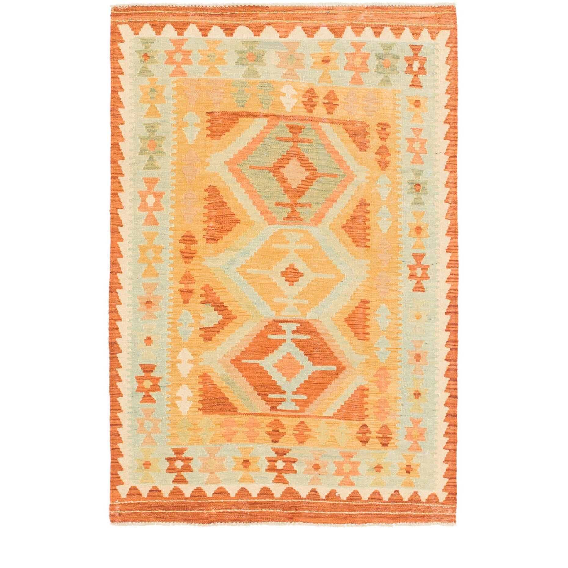 One-of-a-Kind Elland Hand-Knotted Wool Gold/Orange Area Rug
