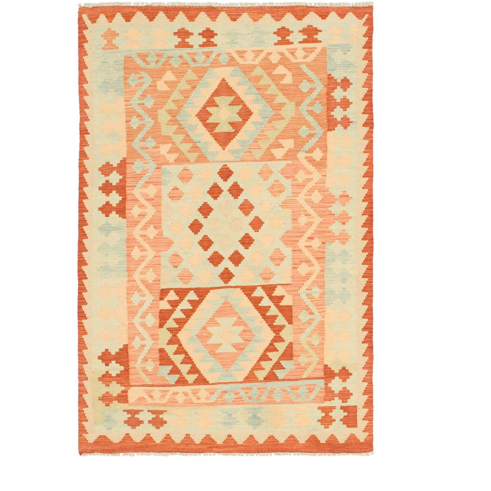 One-of-a-Kind Elland Hand-Knotted Wool Red/Peach Area Rug