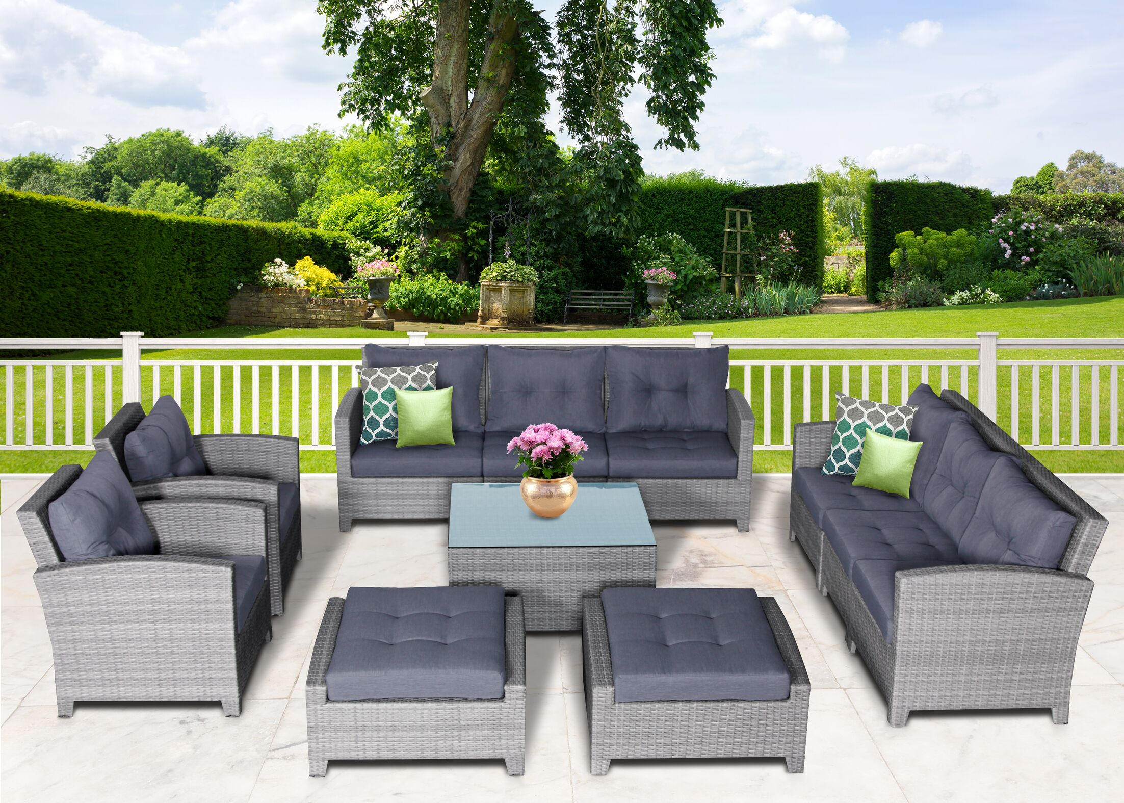 Dowdy 11 Piece Rattan Sectional Seating Group with Cushions Cushion Color: Gray
