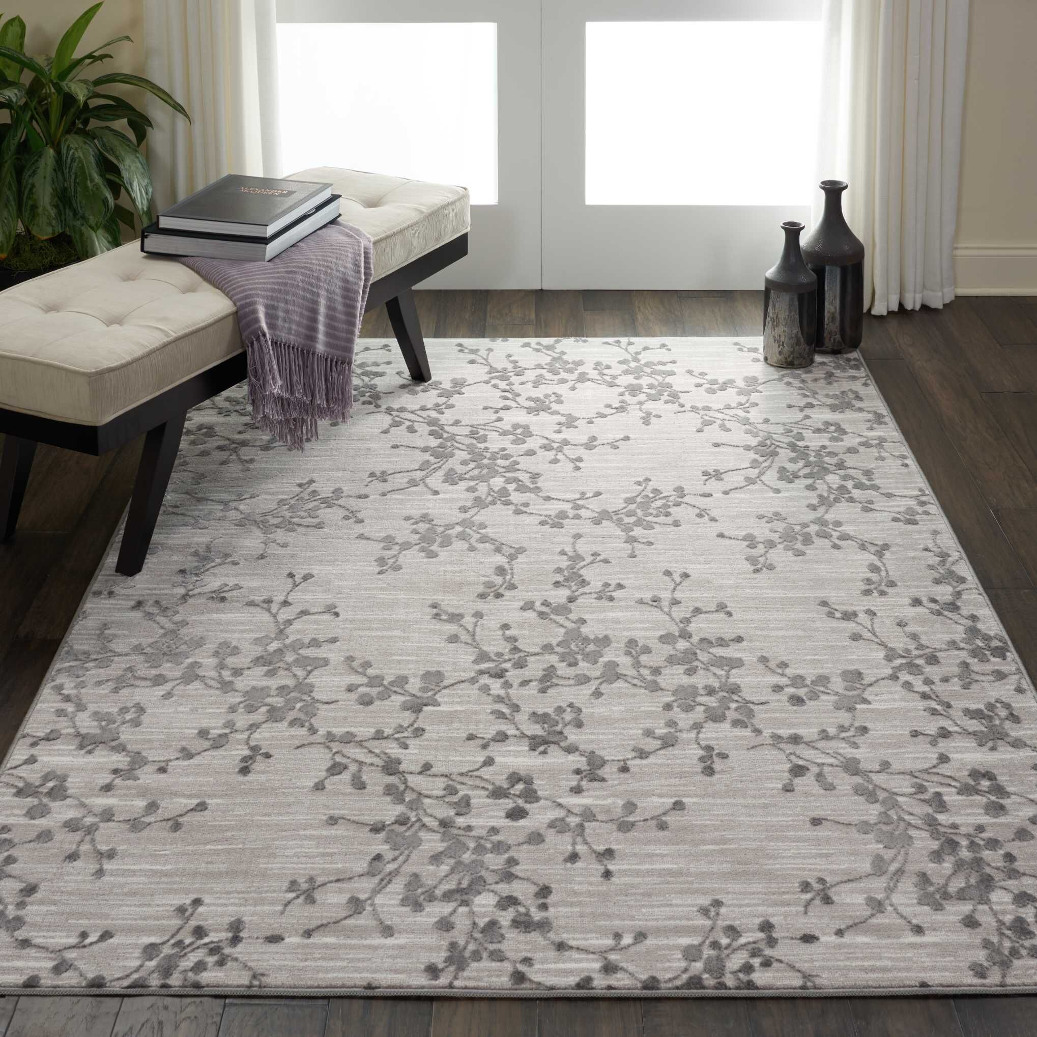 Burford Floral Gray Area Rug Rug Size: Rectangle 4' x 6'