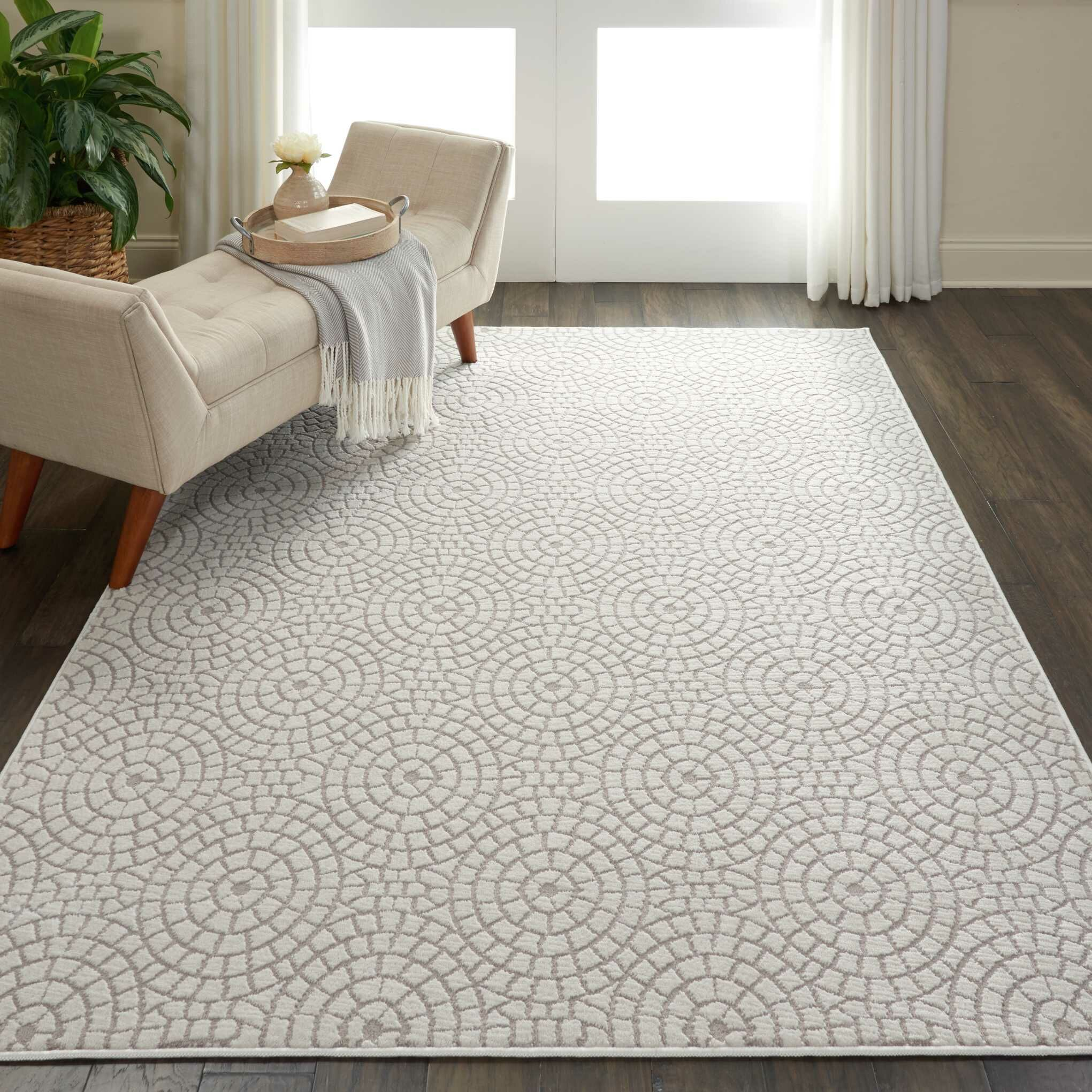Burford Geometric Cream Area Rug Rug Size: Rectangle 4' x 6'