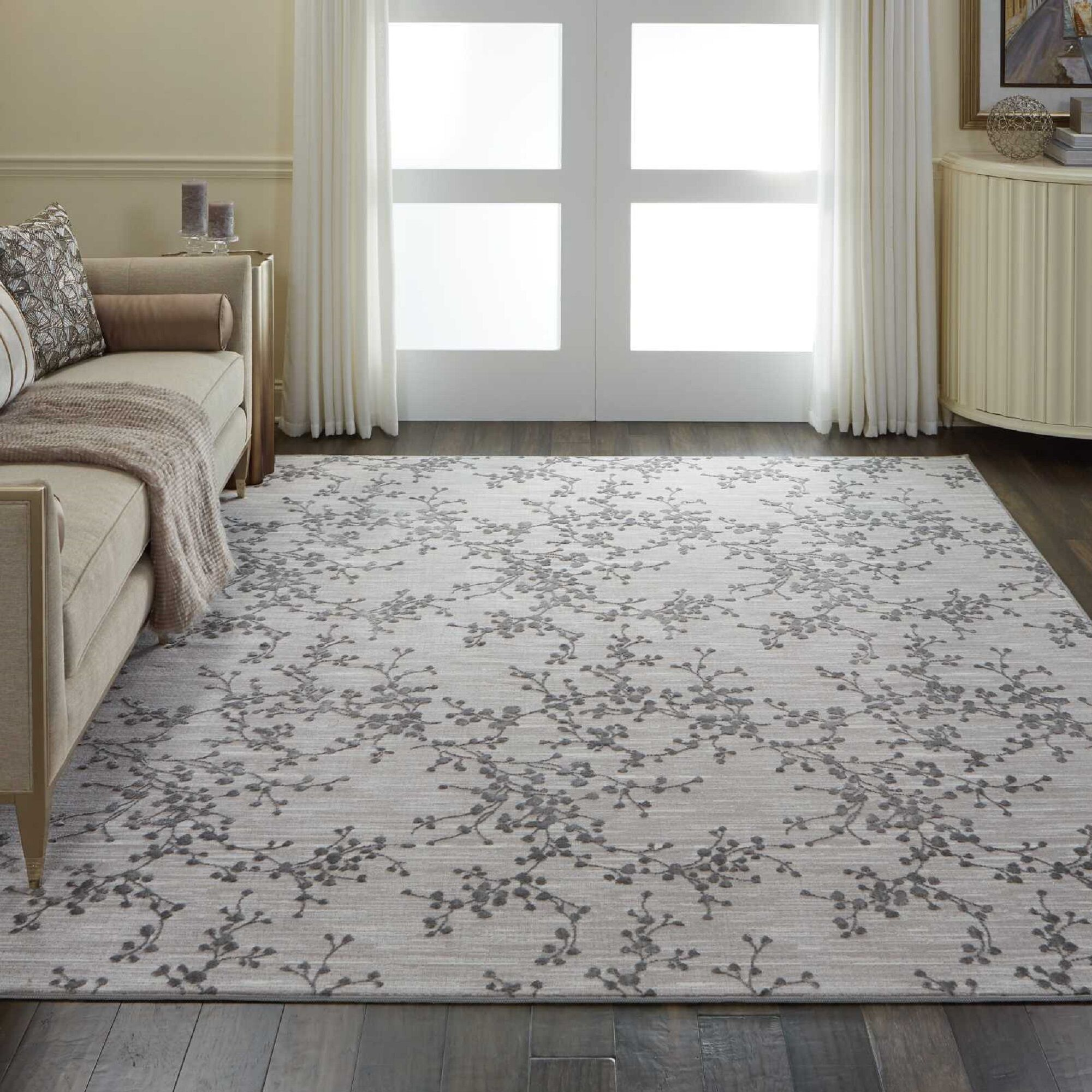 Burford Floral Gray Area Rug Rug Size: Rectangle 9' x 12'