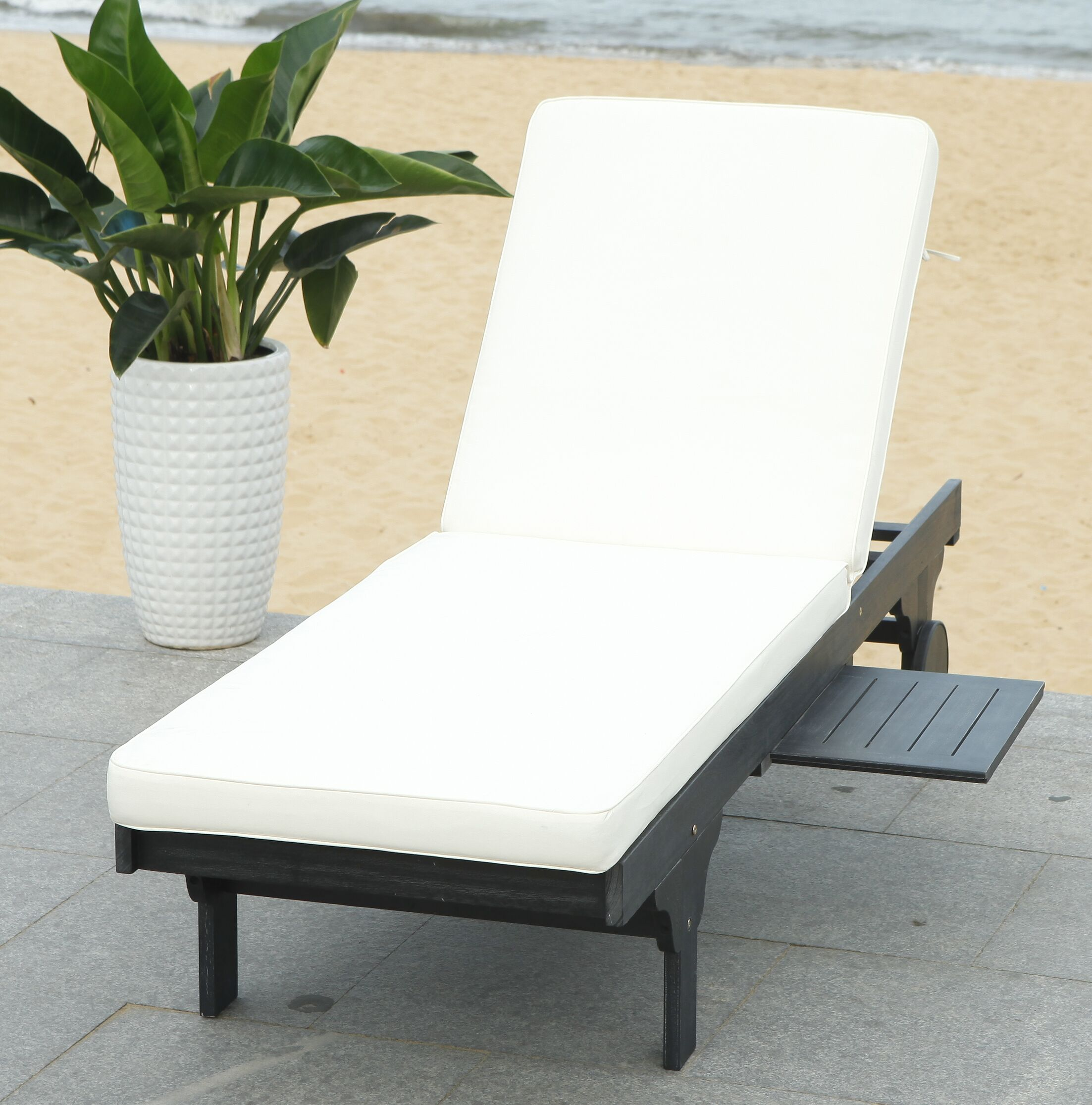 Fullerton Reclining Chaise Lounge with Cushion and Table Finish: Black