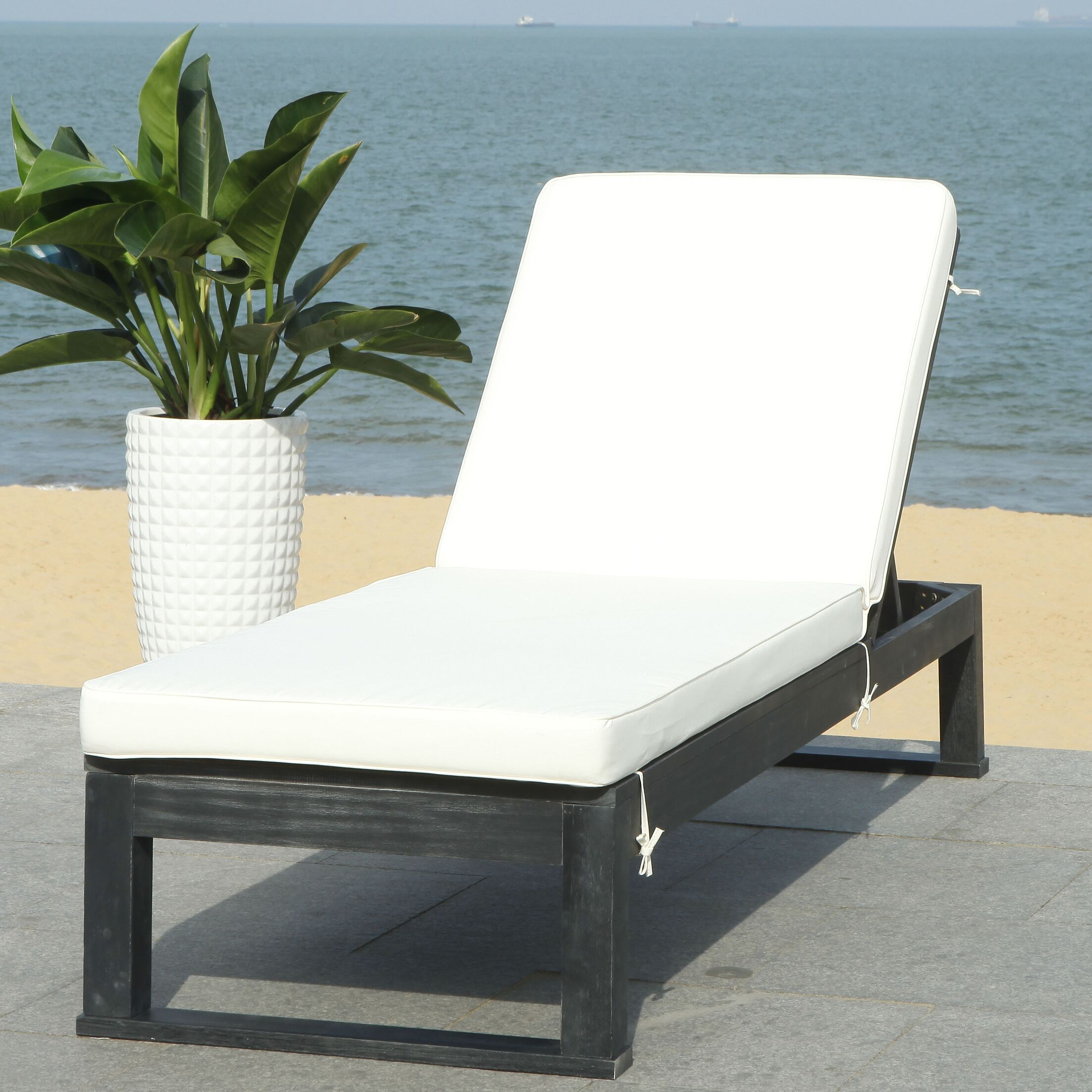 Darlington Sunlounger Reclining Chaise Lounge with Cushion Finish: Black