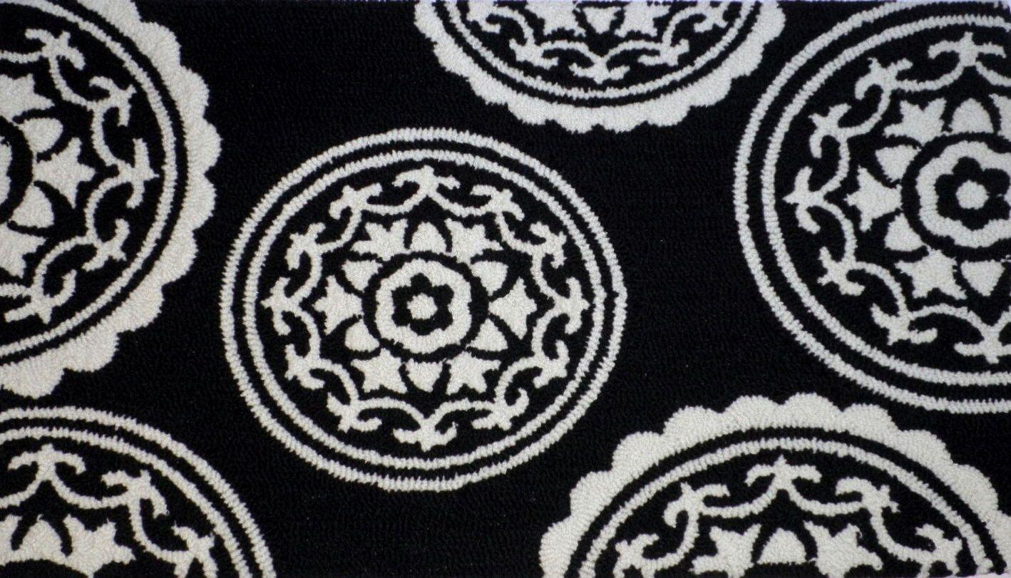 Anne Medallion Doormat Color: Black, Mat Size: Rectangle 2' x 5'