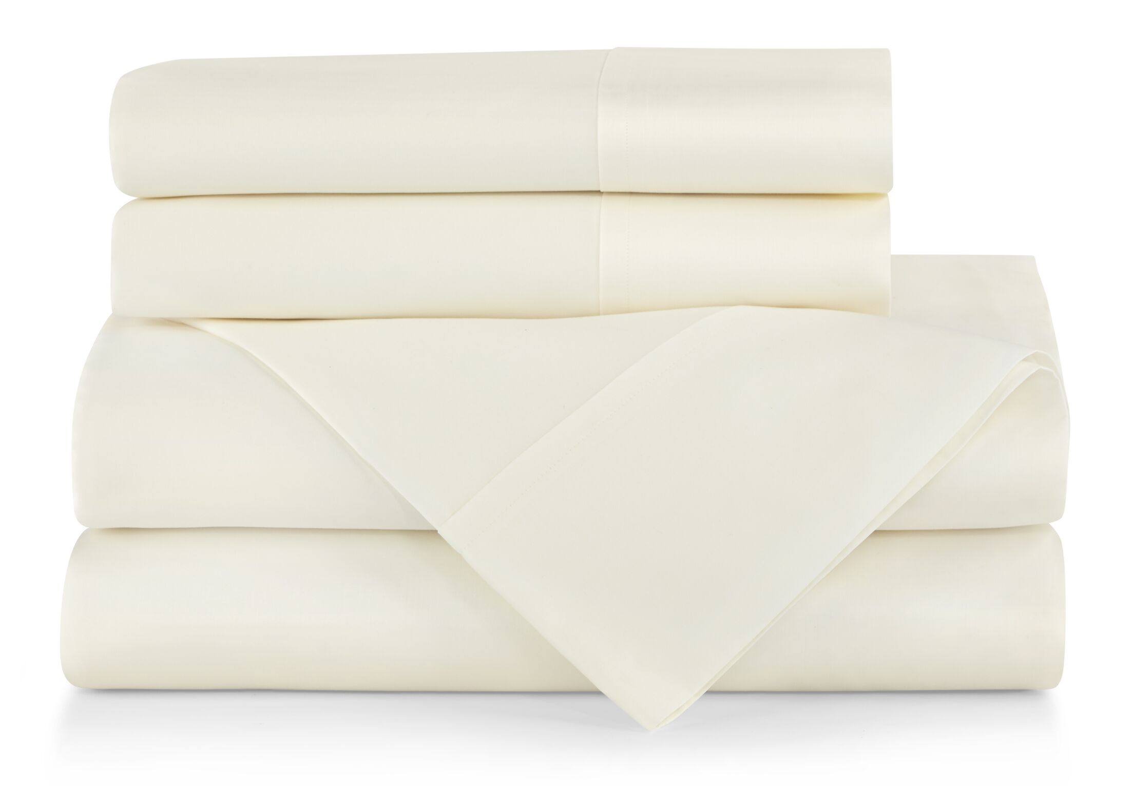 Supima Semplice 550 Thread Count Certified Cotton Fitted Sheet Color: Ivory, Size: Queen