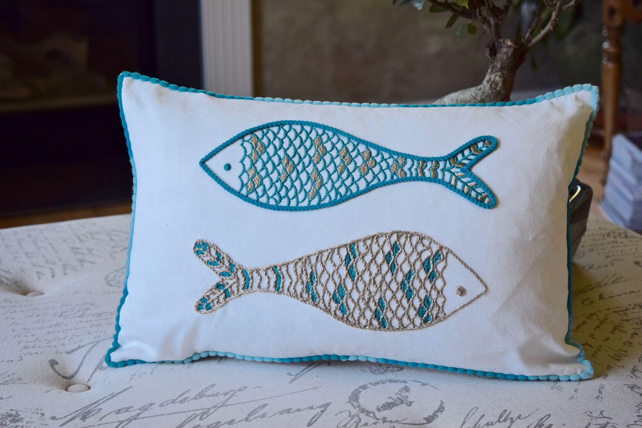 Dobbs 2 Fish Embroidered Cotton Lumbar Pillow