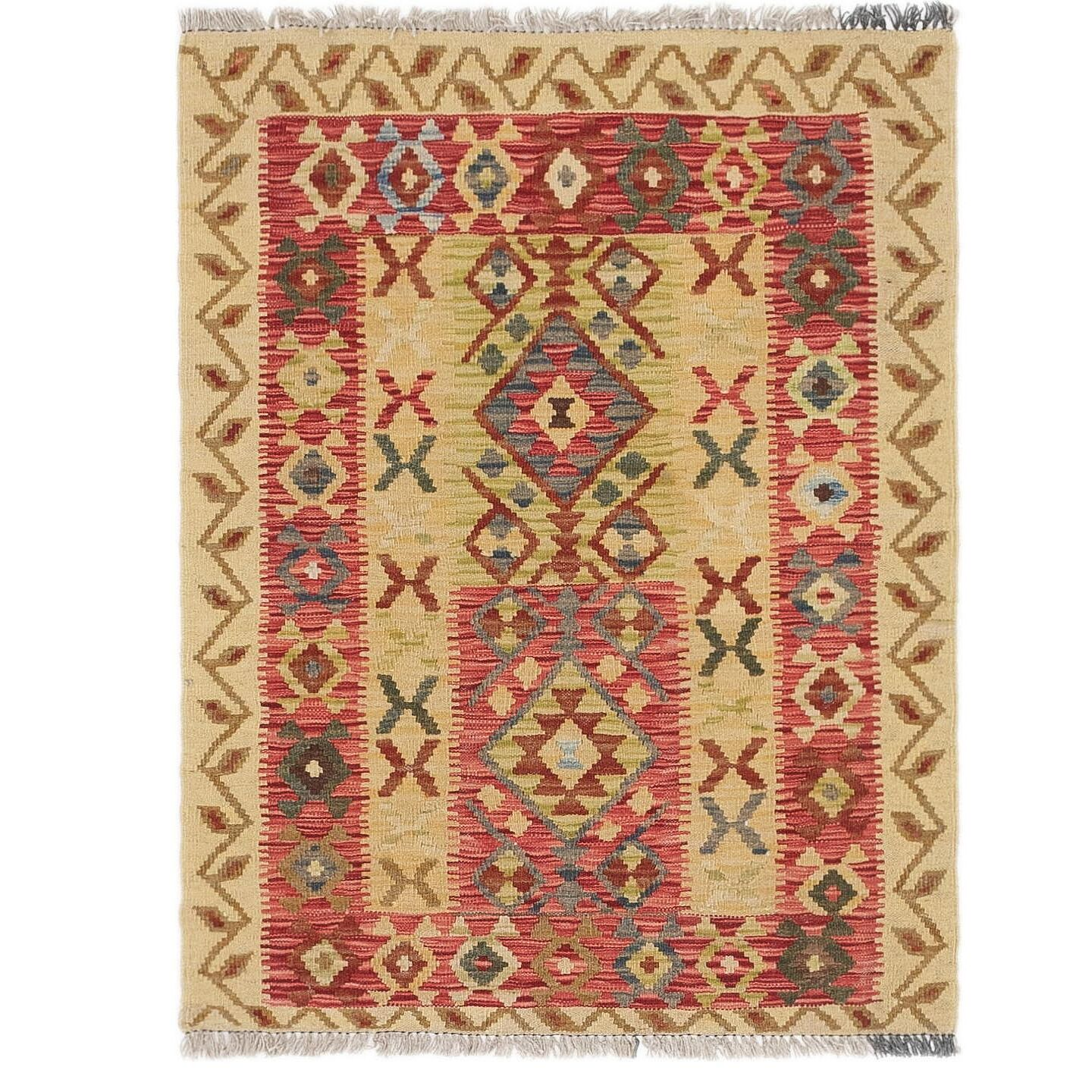 One-of-a-Kind Lorain Hand-Knotted 3' x 4' Wool Beige/Red Area Rug