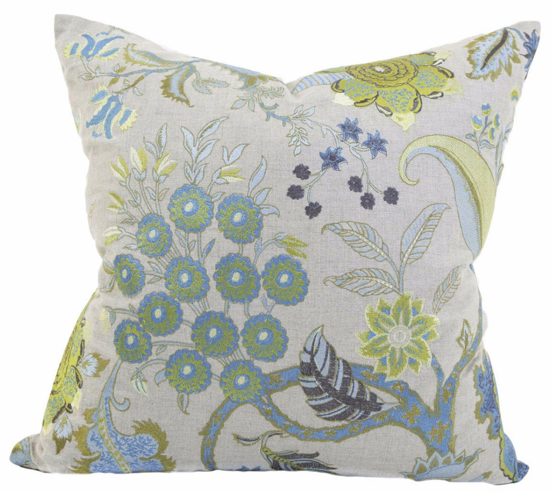 Tilda Flor Embroidery Linen Throw Pillow