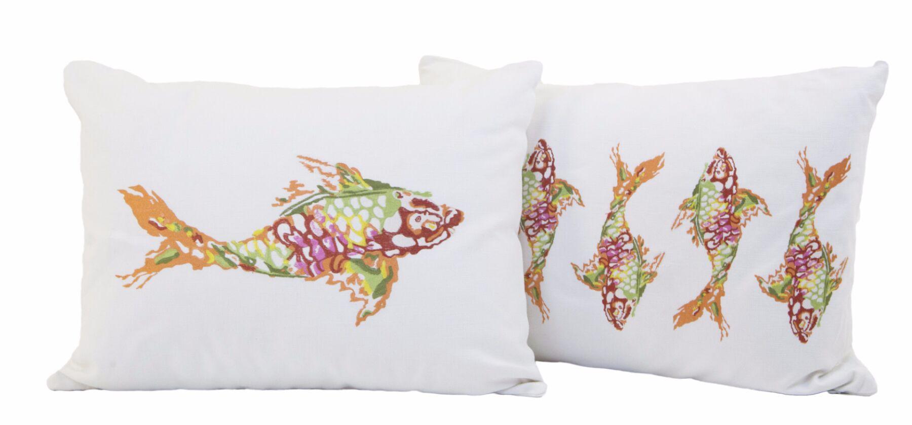 Glines Koi Fish Cotton Lumbar Pillow Color: Orange/Red