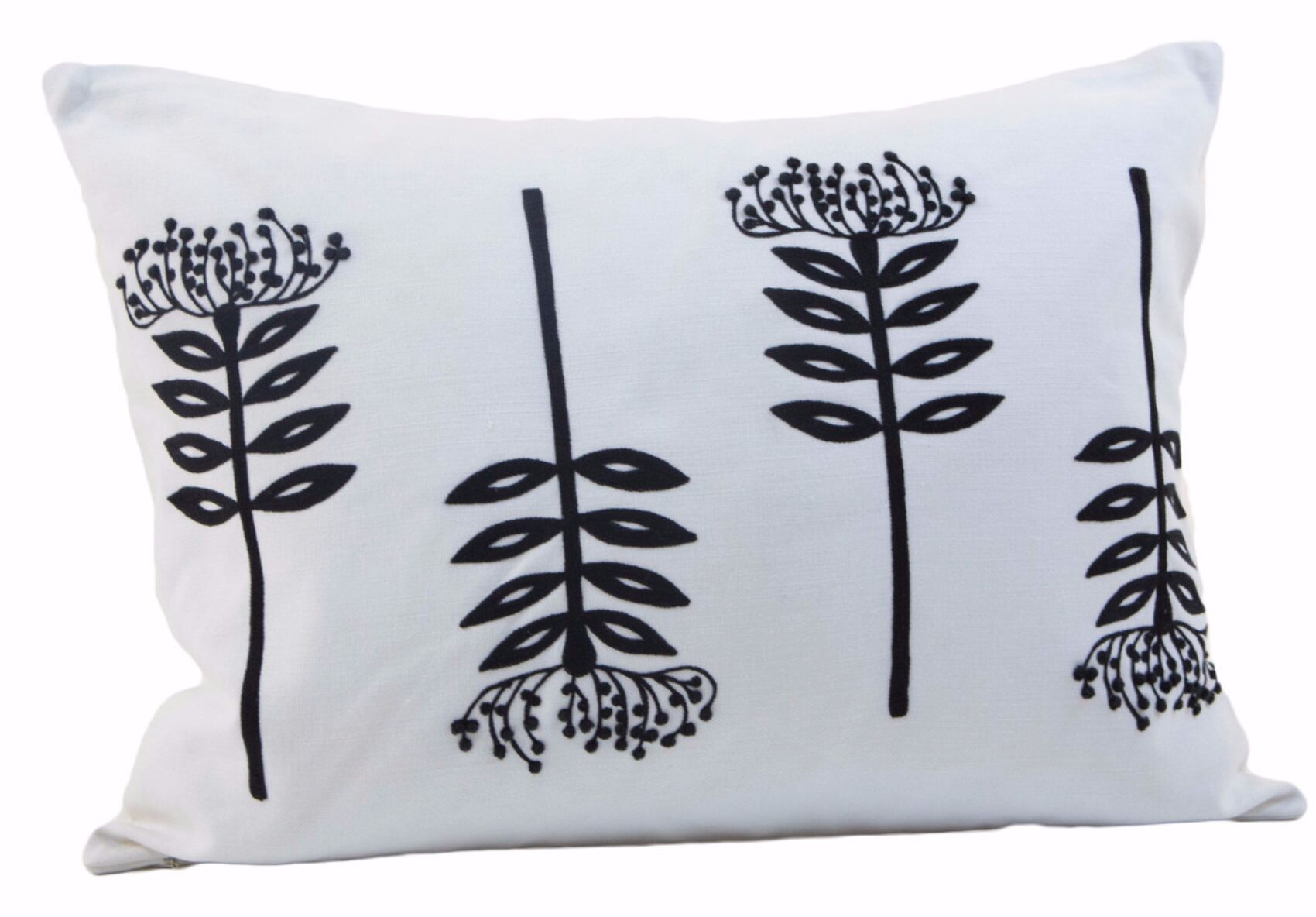 Vredenburgh The Fern Stems Cotton Lumbar Pillow Color: Off-White