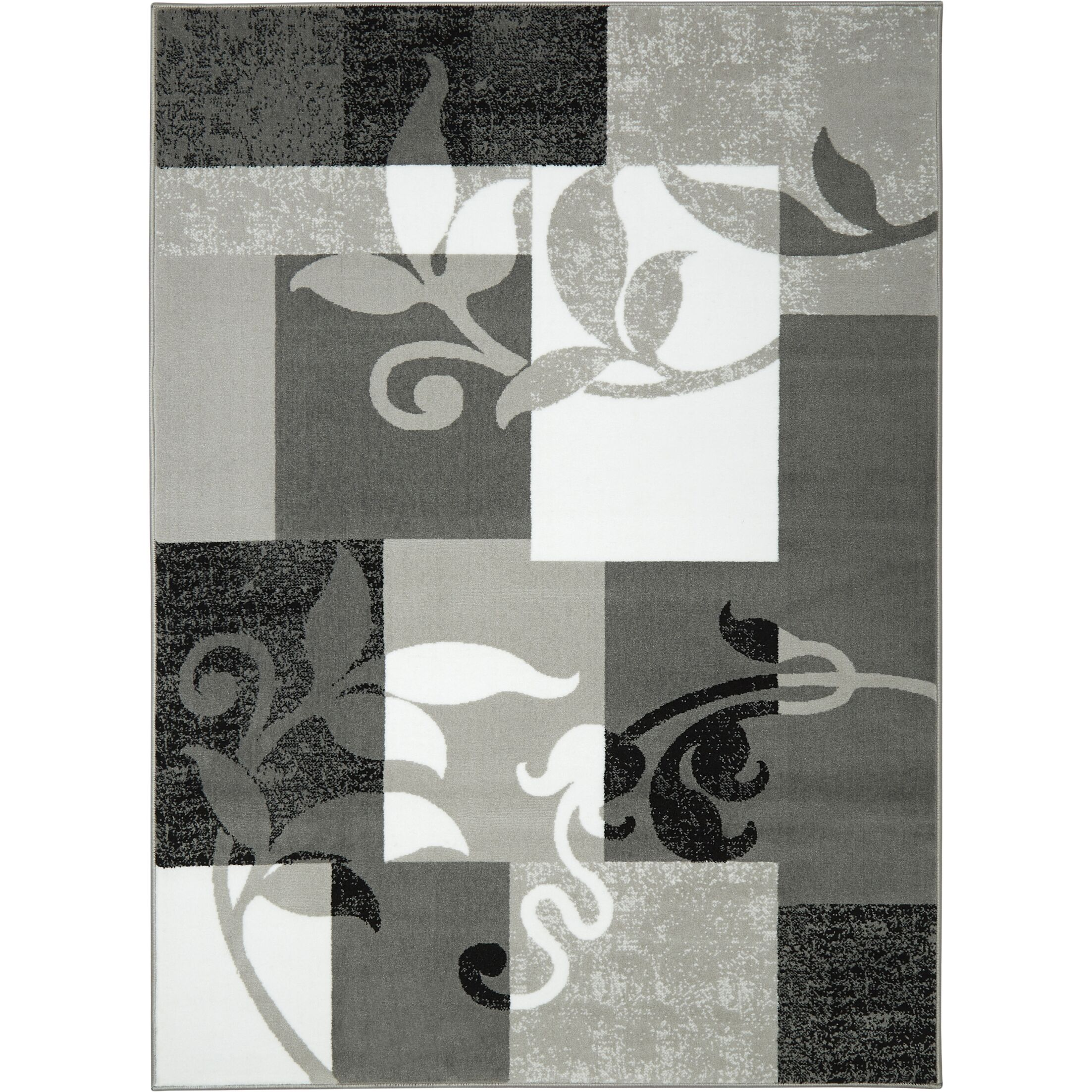 Albion Power Loom Gray/White Area Rug Rug Size: Rectangle 7'2