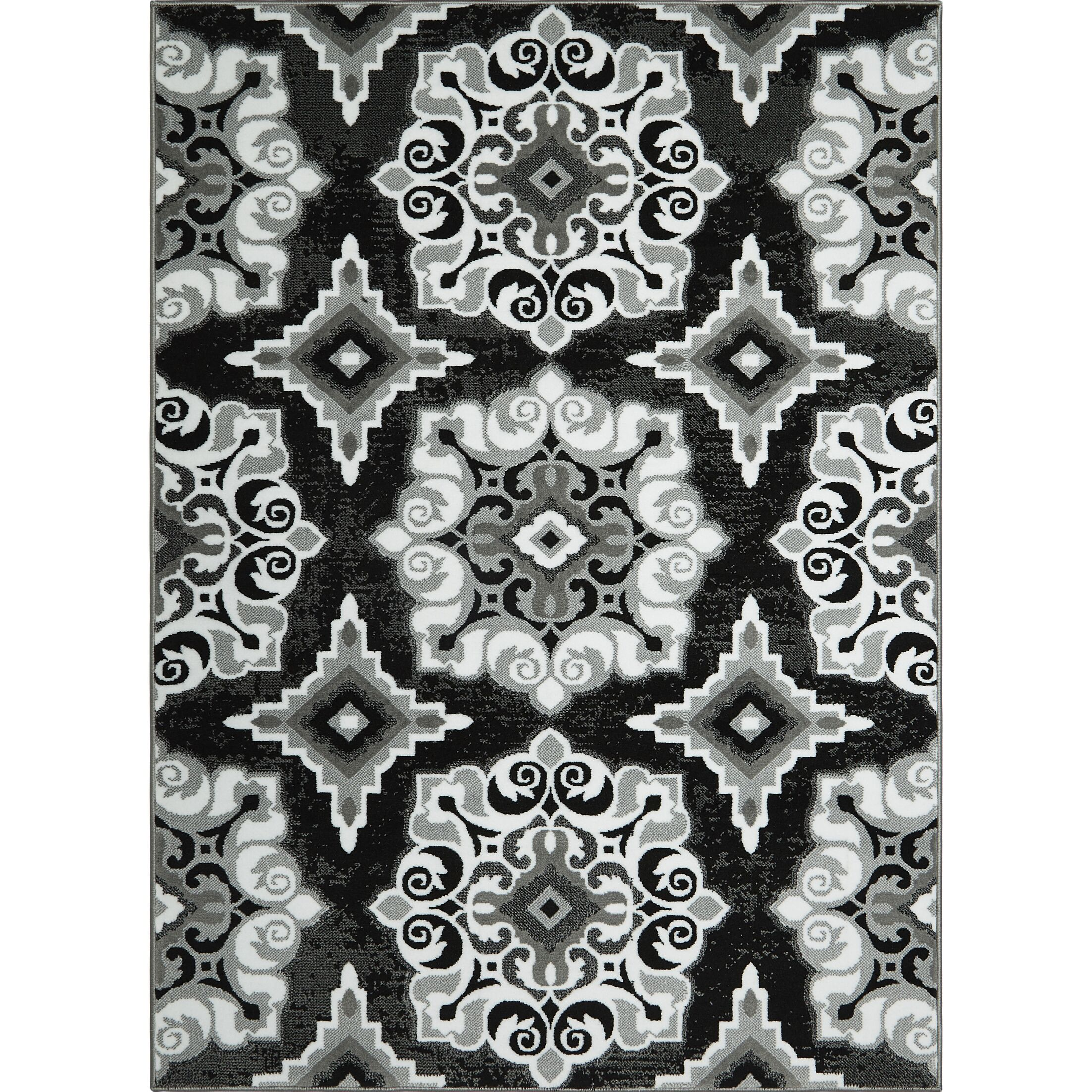 Arend Power Loom Black/White Area Rug Rug Size: Rectangle 10'2