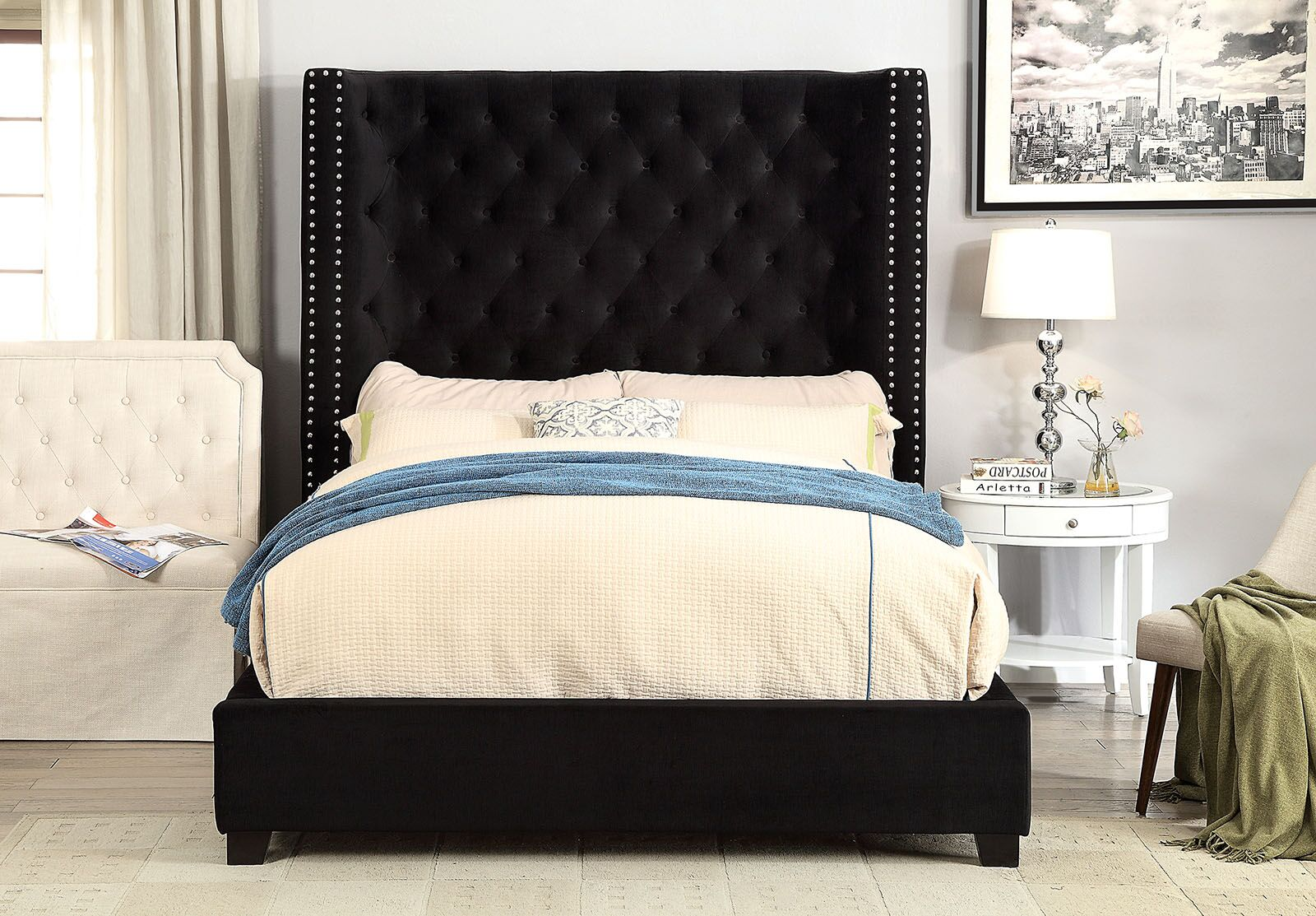 Church Strett Upholstered Panel Bed Size: King, Color: Black