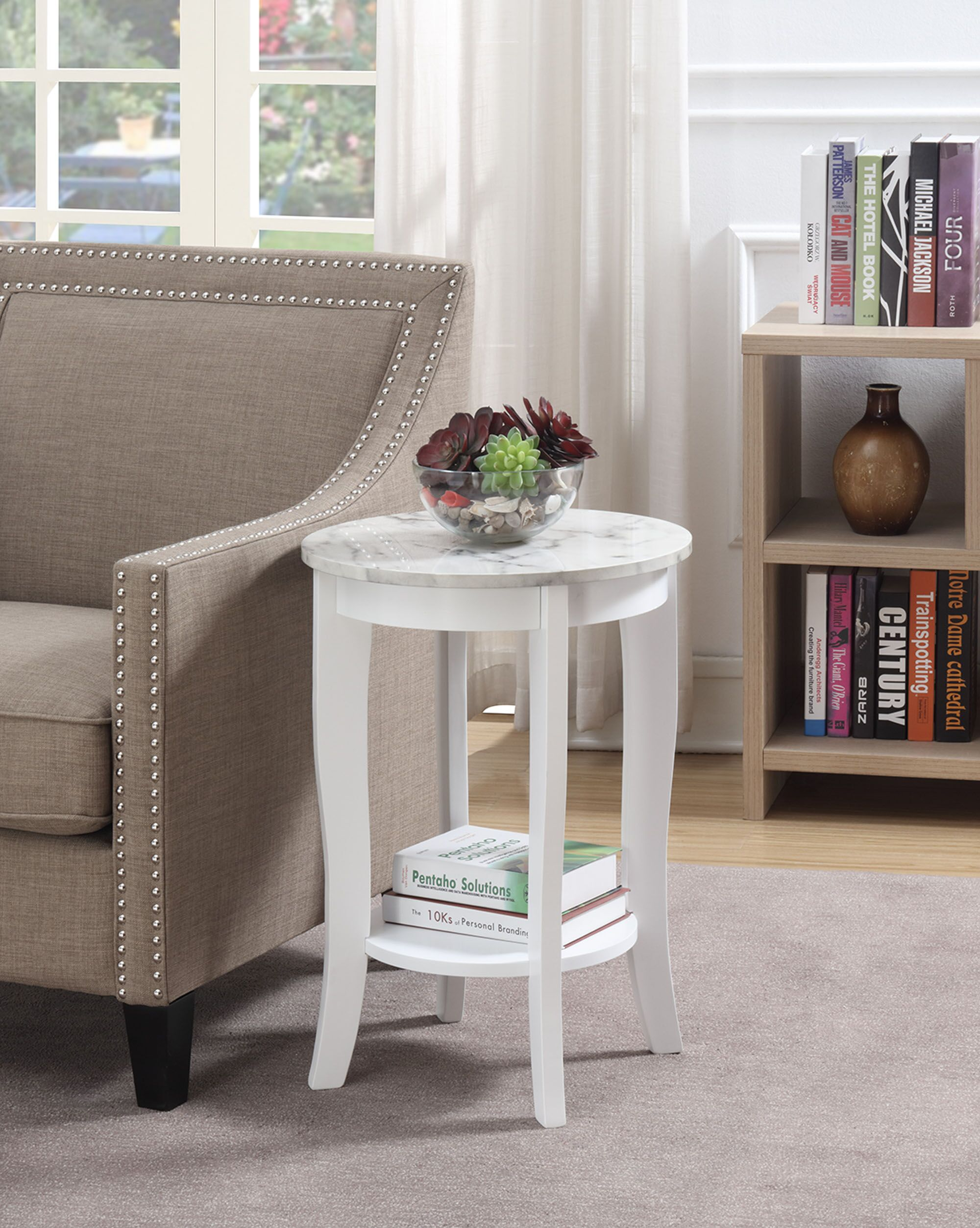 Lucile End Table Table Base Color: White, Table Top Color: White Faux Marble