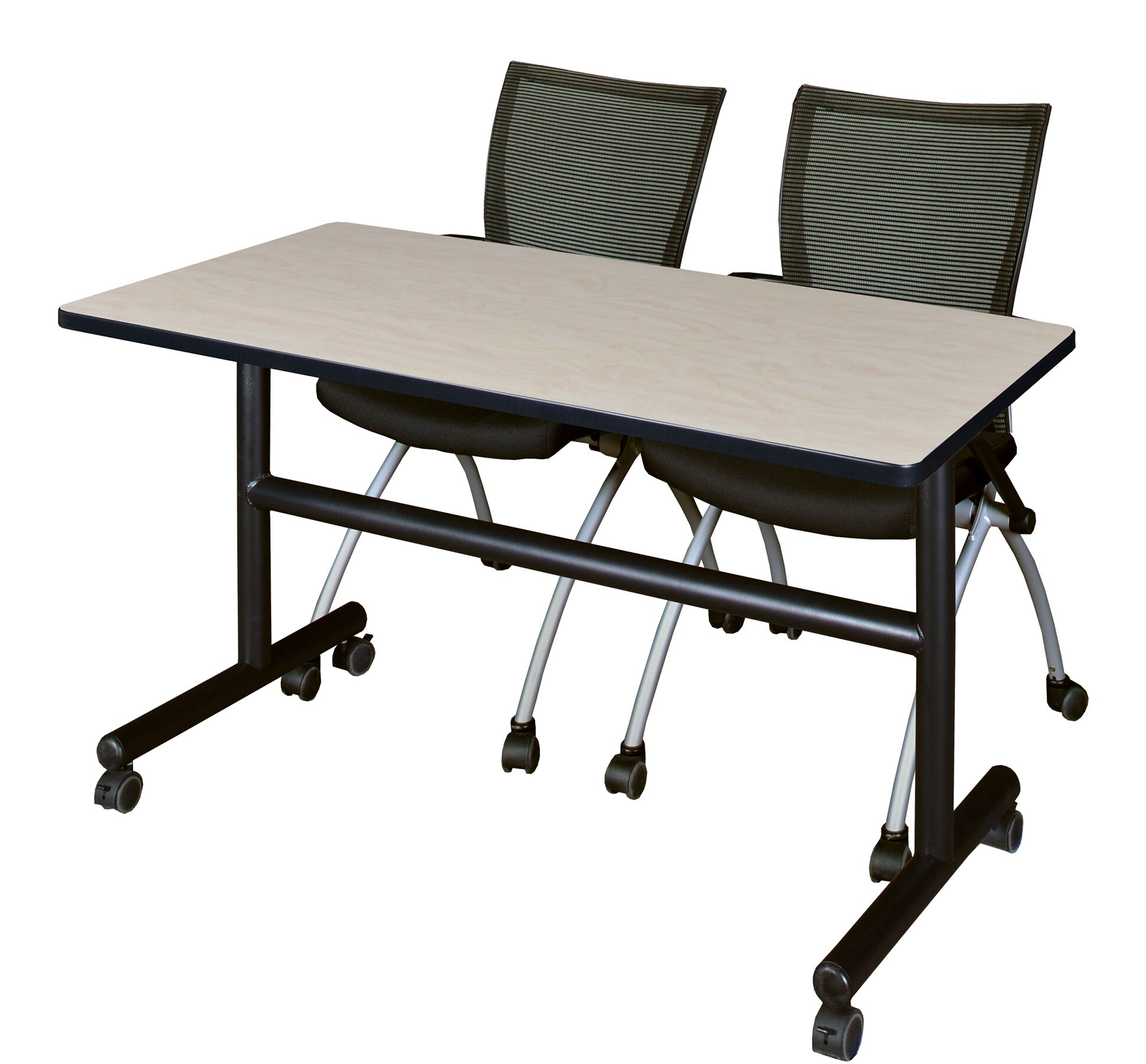 Vaughan Flip Top Mobile Training Table with Wheels Tabletop Finish: Beige, Size: 29