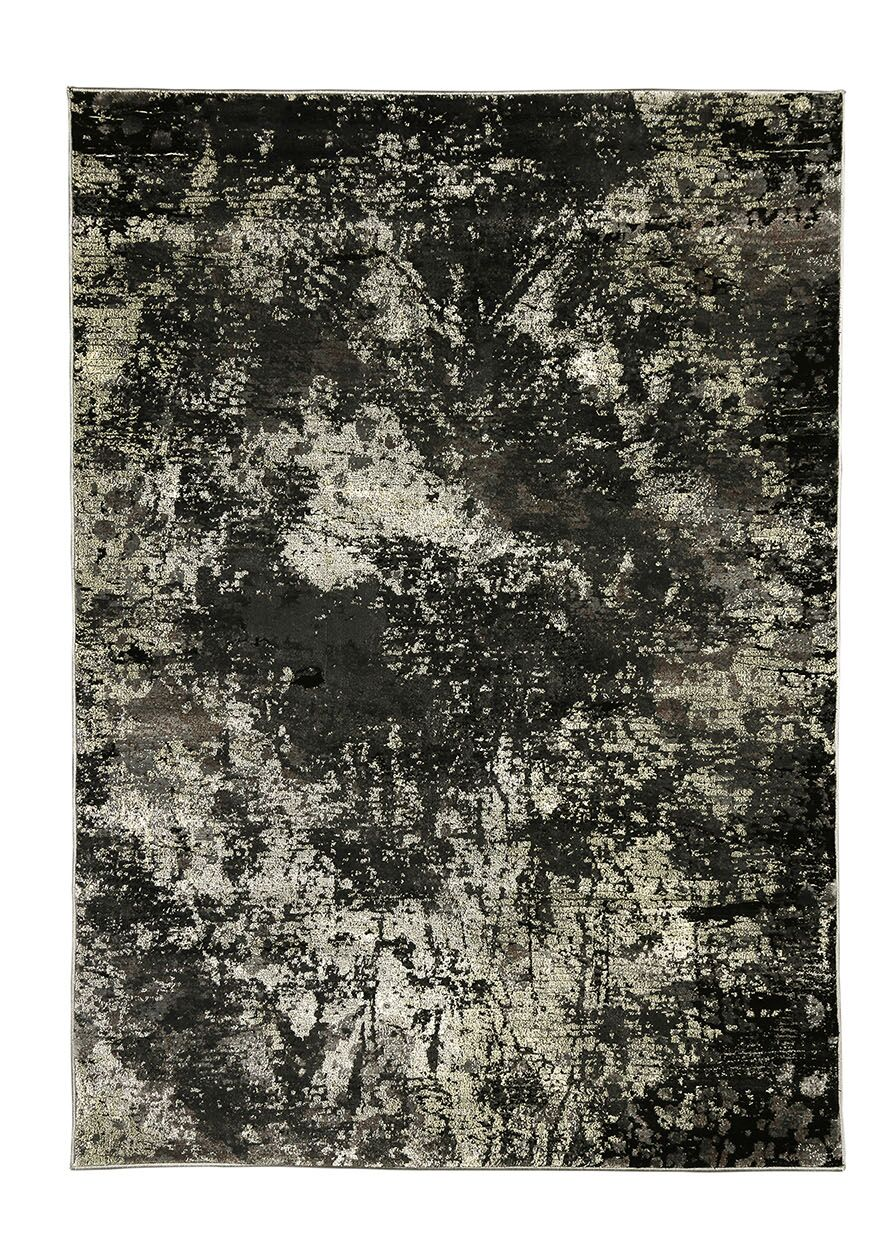 Eccleshall Distressed Black/Gray Indoor/Outdoor Area Rug Rug Size: Rectangle 7'9