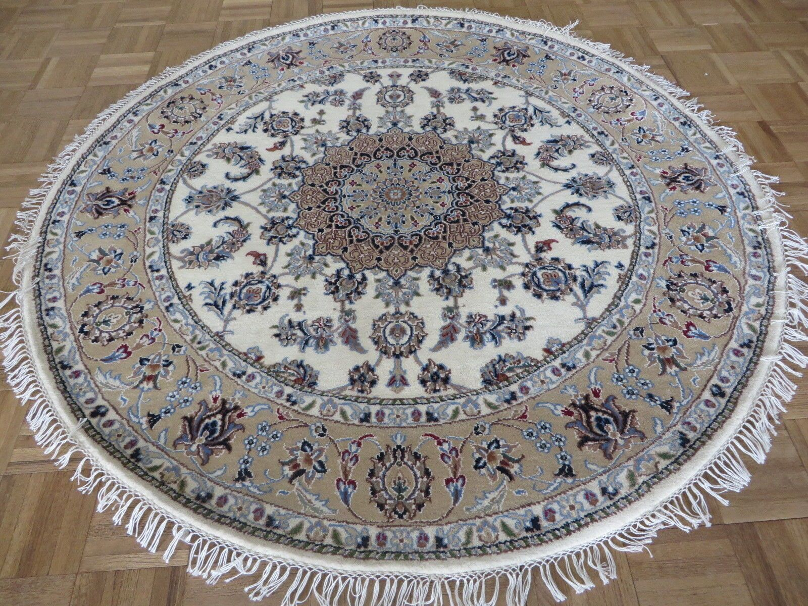 One-of-a-Kind Beane Fine Nain Hand-Knotted 5' x 5' Wool Ivory Area Rug